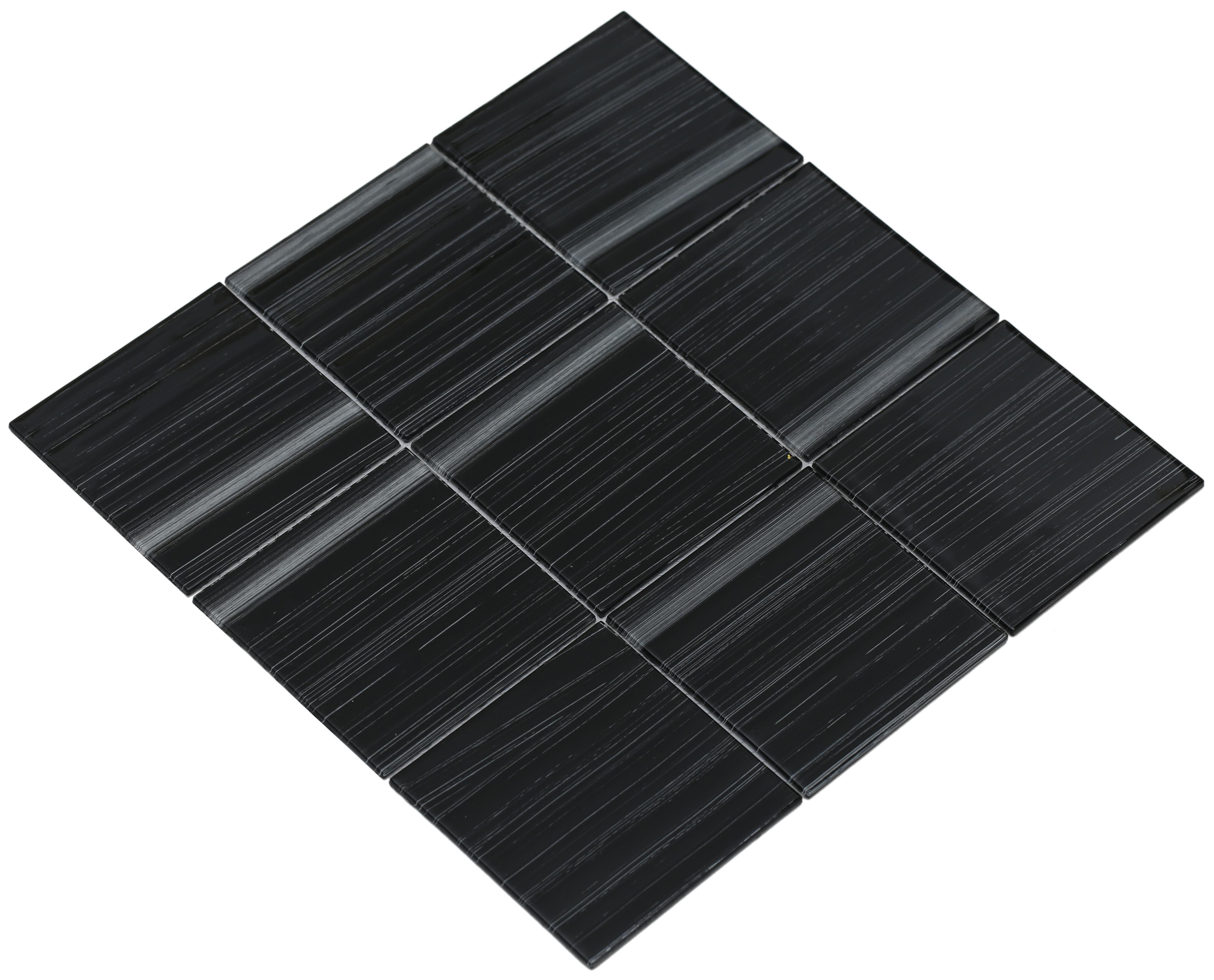 "Shiny black and white brushed glass / 4""x4"" Shilla Series 0"