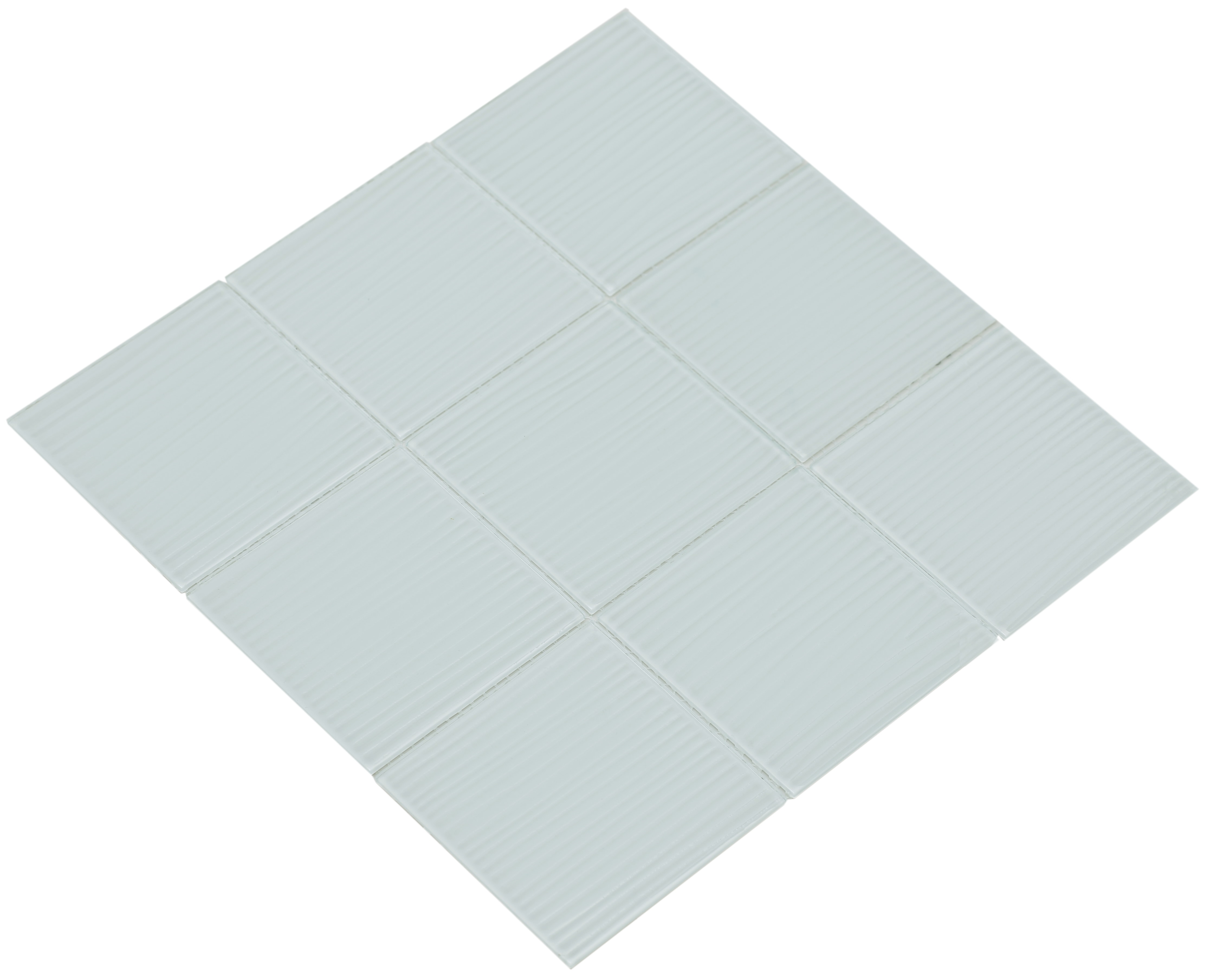 """Shiny white glass with a brushed texture / 4""""x4"""" Shilla Series 0"""
