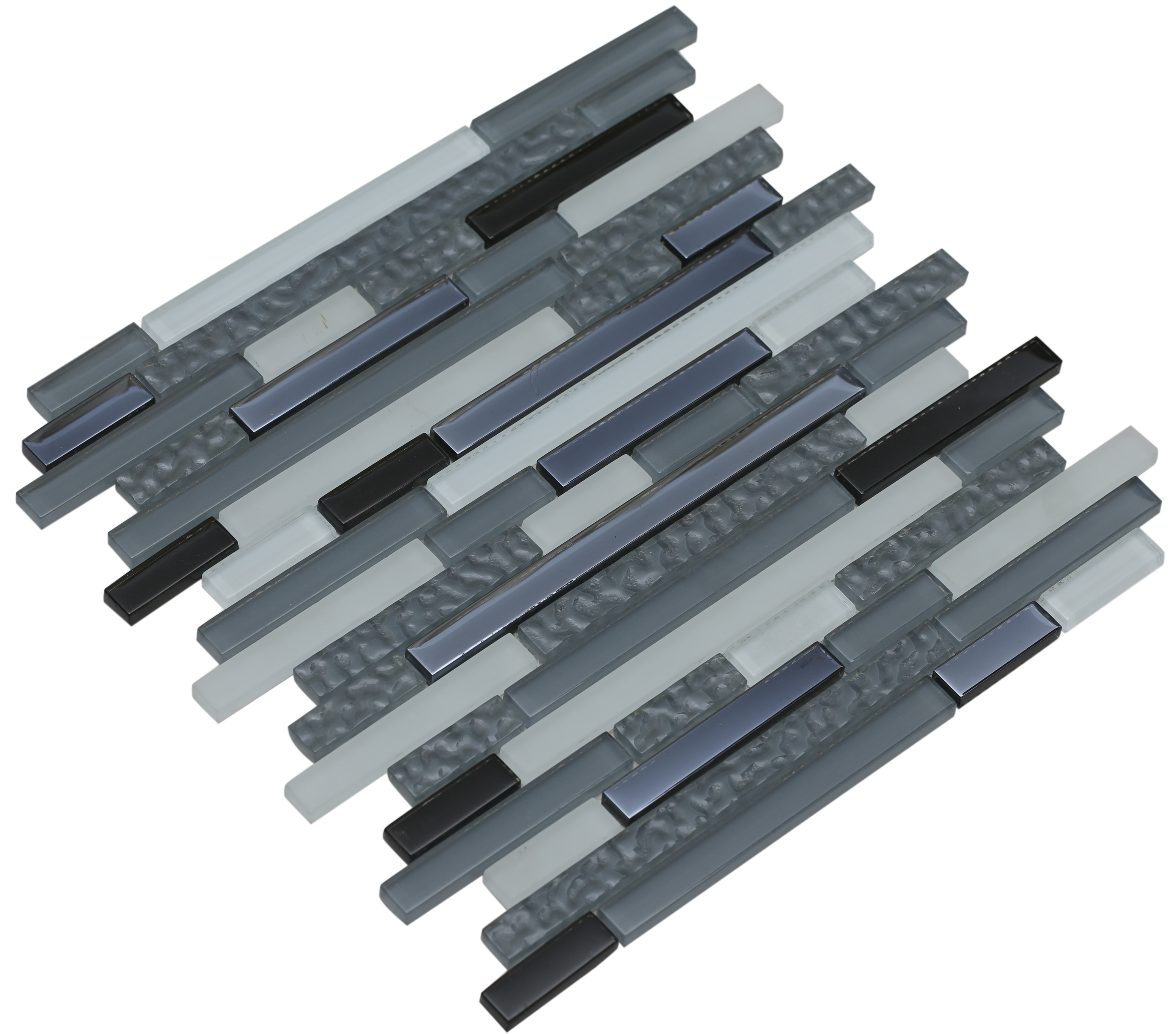 Light gray and alice blue matte, shiny black, and shiny textured light gray glass / Interlocking Fara Series 0