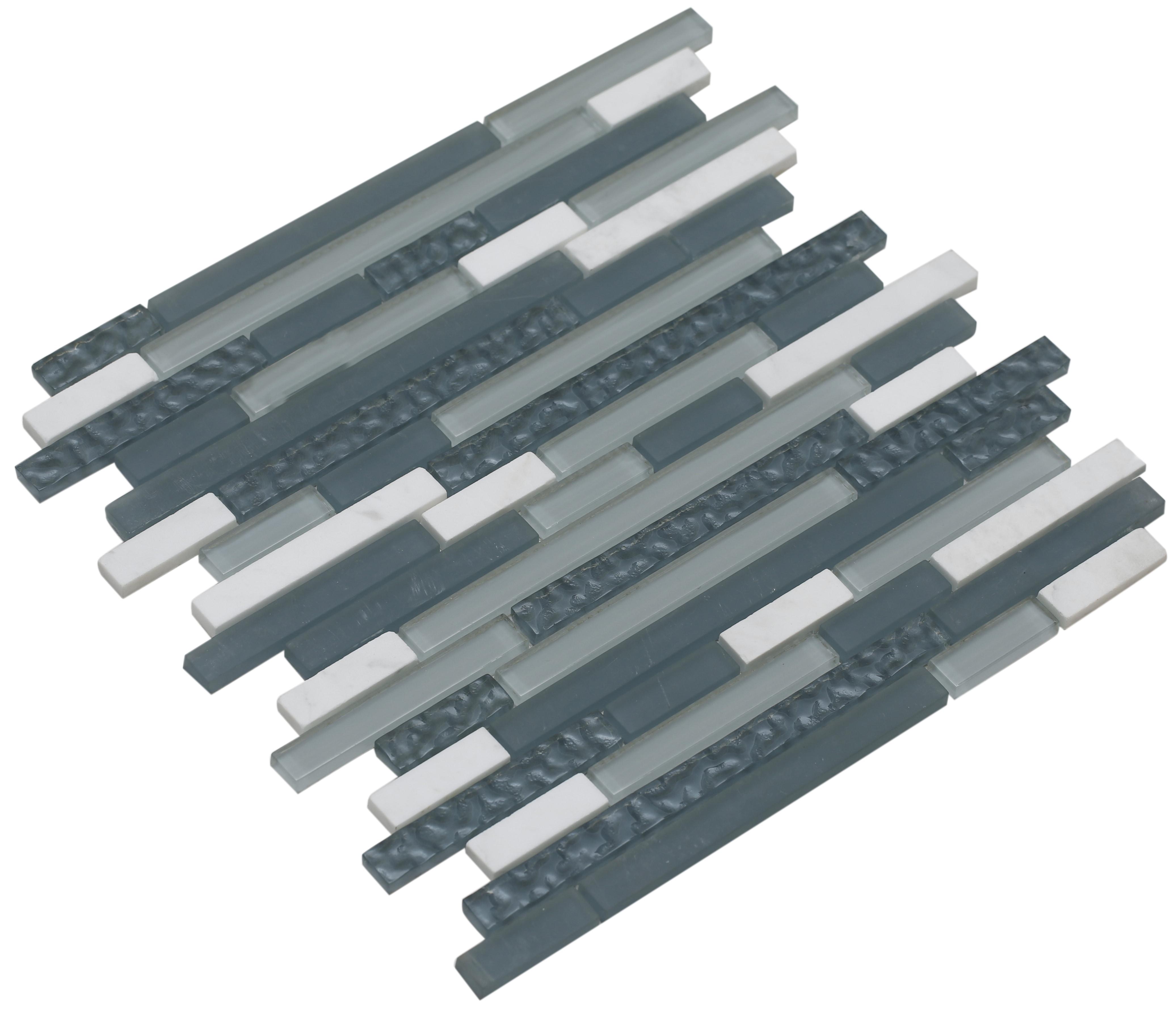 Light gray matte, shiny light silver, and shiny textured light slate gray glass with white stone / Interlocking Fara Series 0
