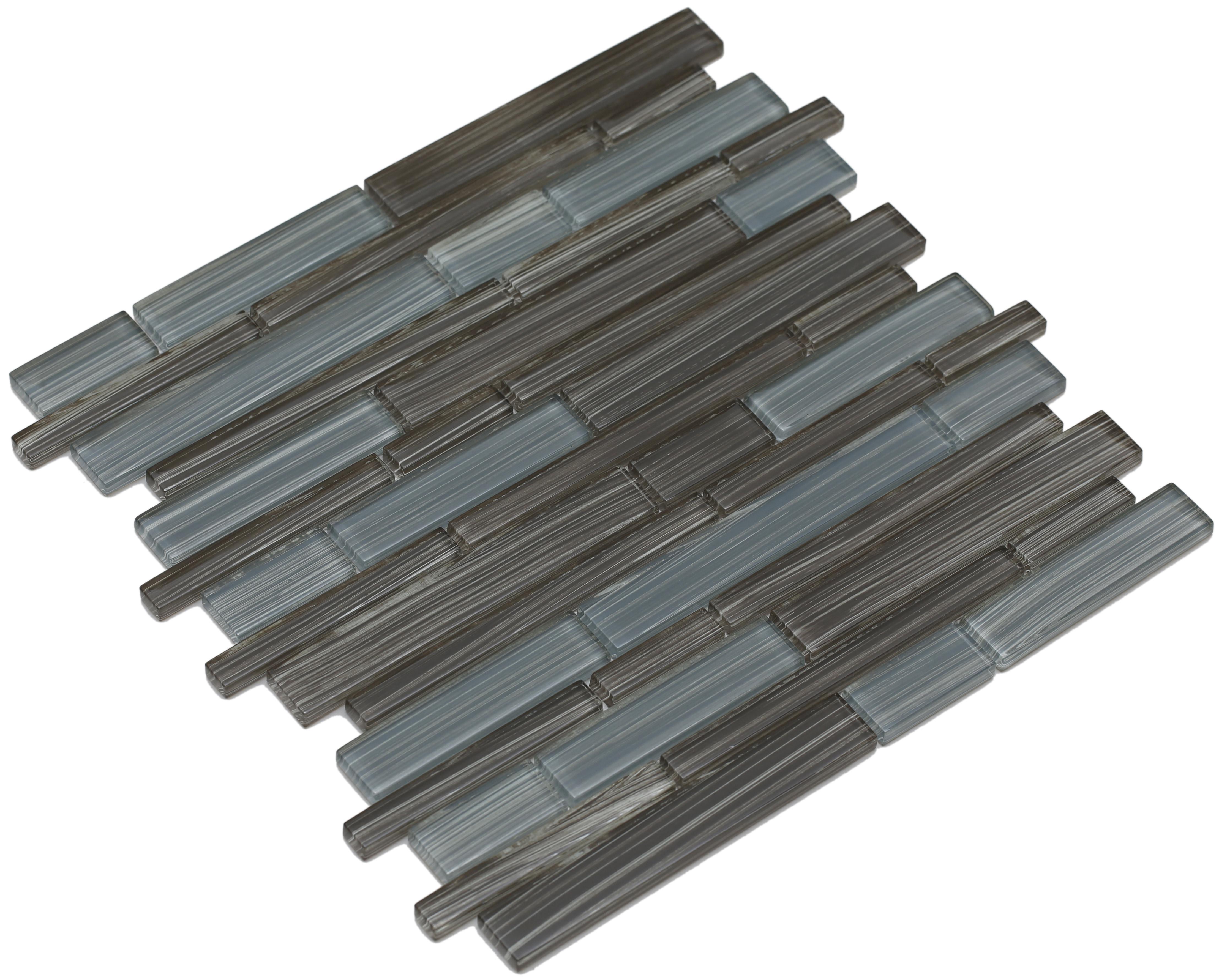 Varying brown and gray hand painted glass / Interlocking Mahi Series 0
