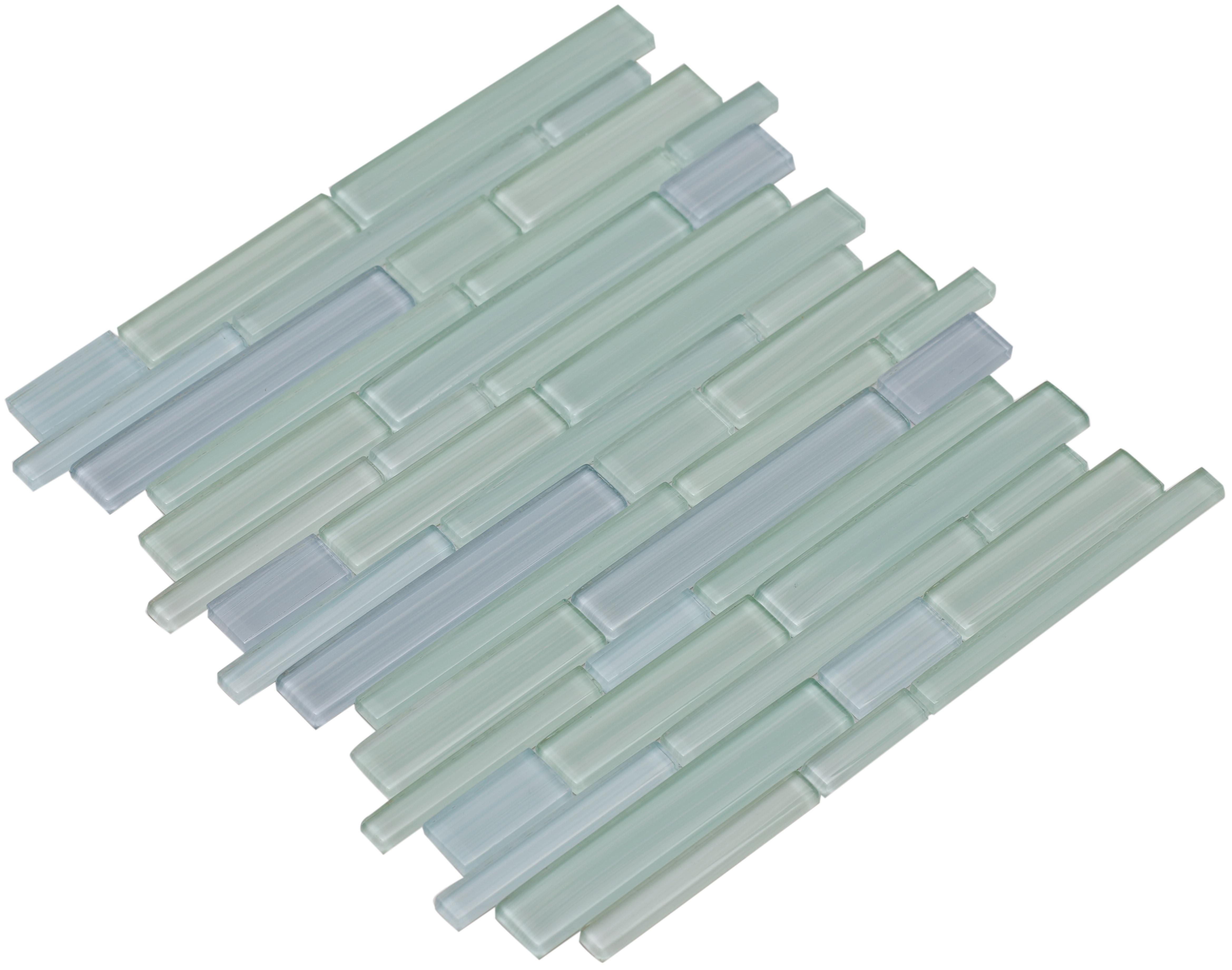 Varying sky blue and sea foam green shiny hand painted glass / Interlocking Mahi Series 0