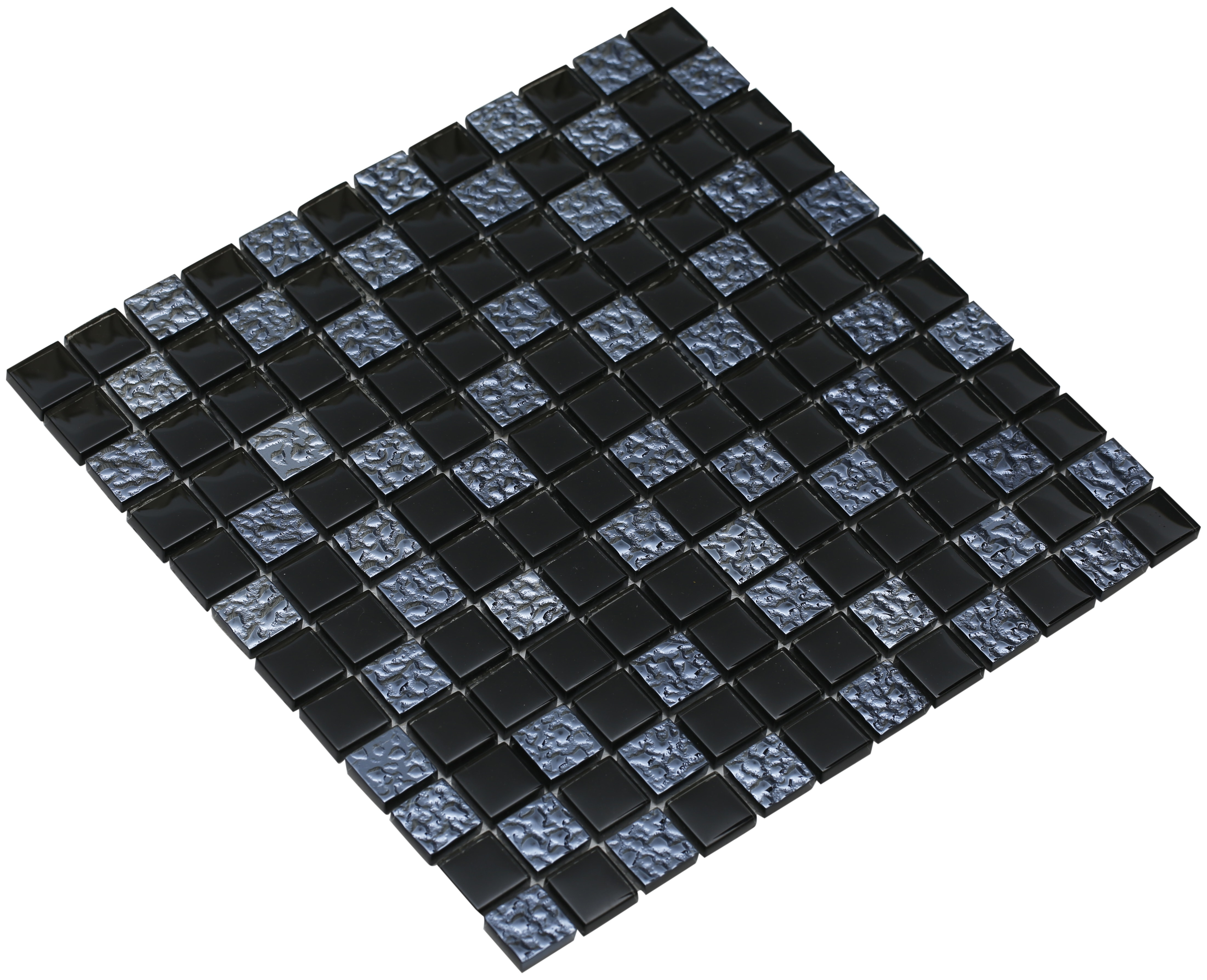 """Pure shiny black and textured midnight blue glass / 1""""x1"""" Bella Series 0"""