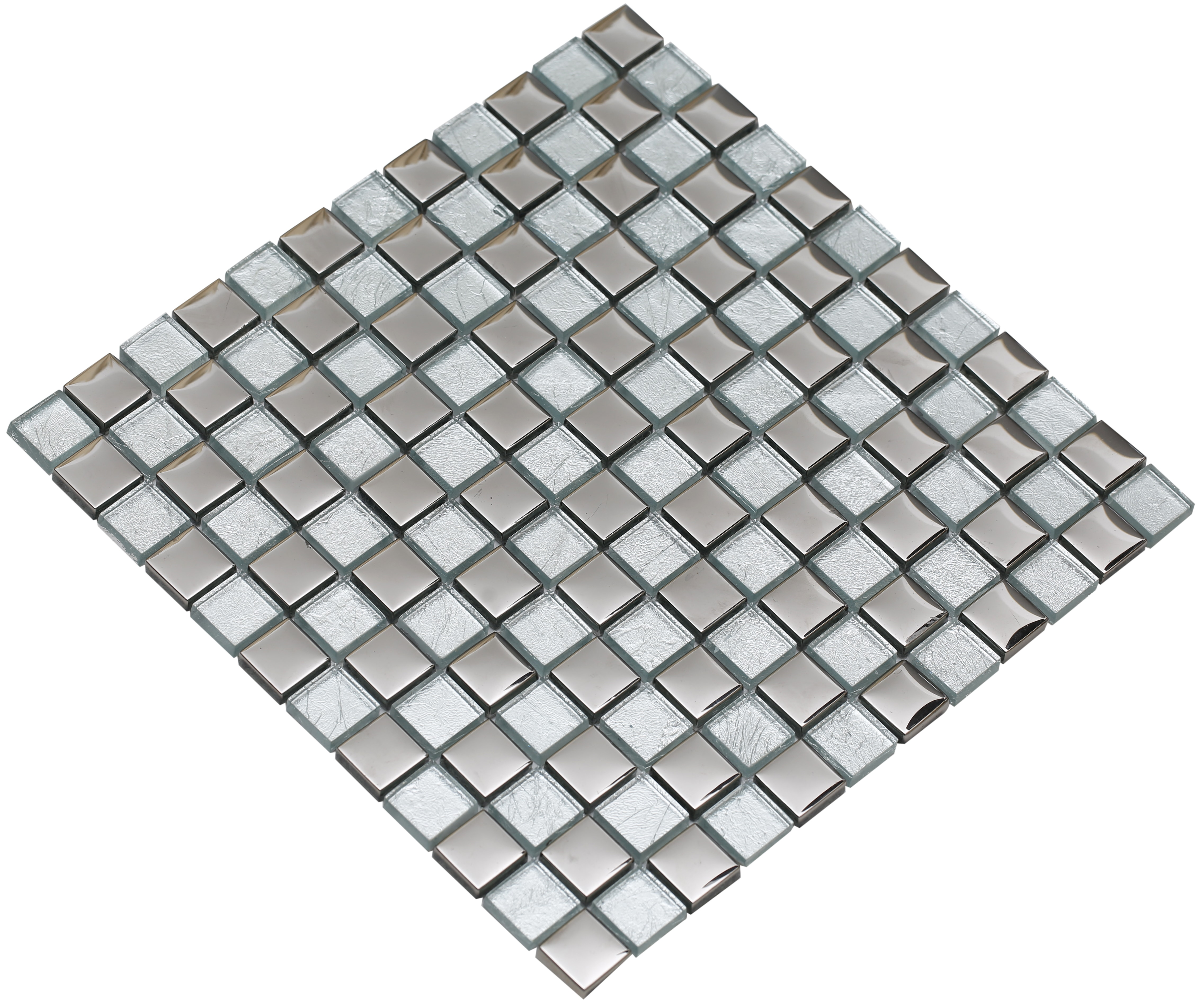 """Silver electroplated and shiny translucent (silver backing) glass / 1""""x1"""" Bella Series 0"""
