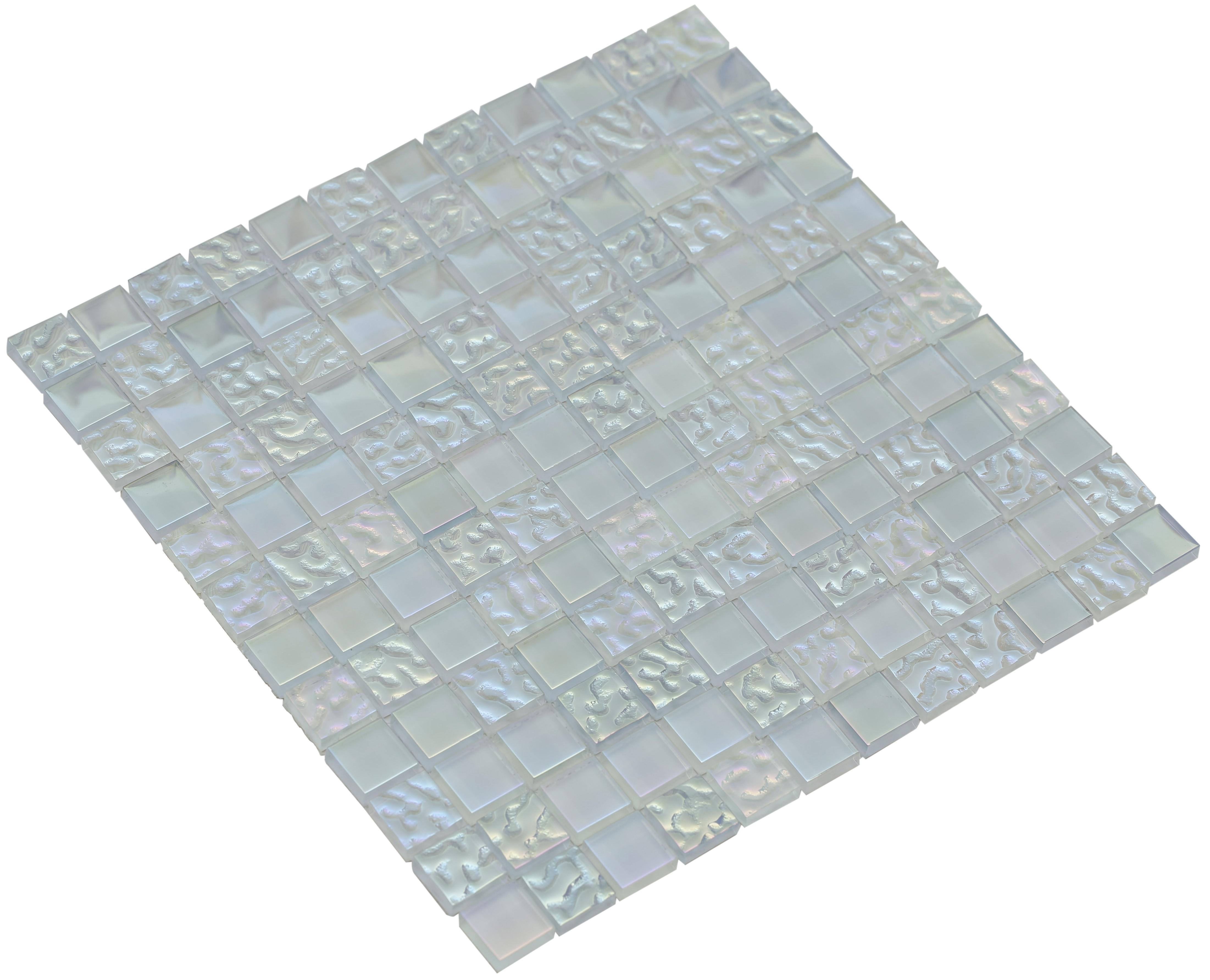 "Pure and textured tinted aquamarine glass / 1""x1"" Bella Series 0"
