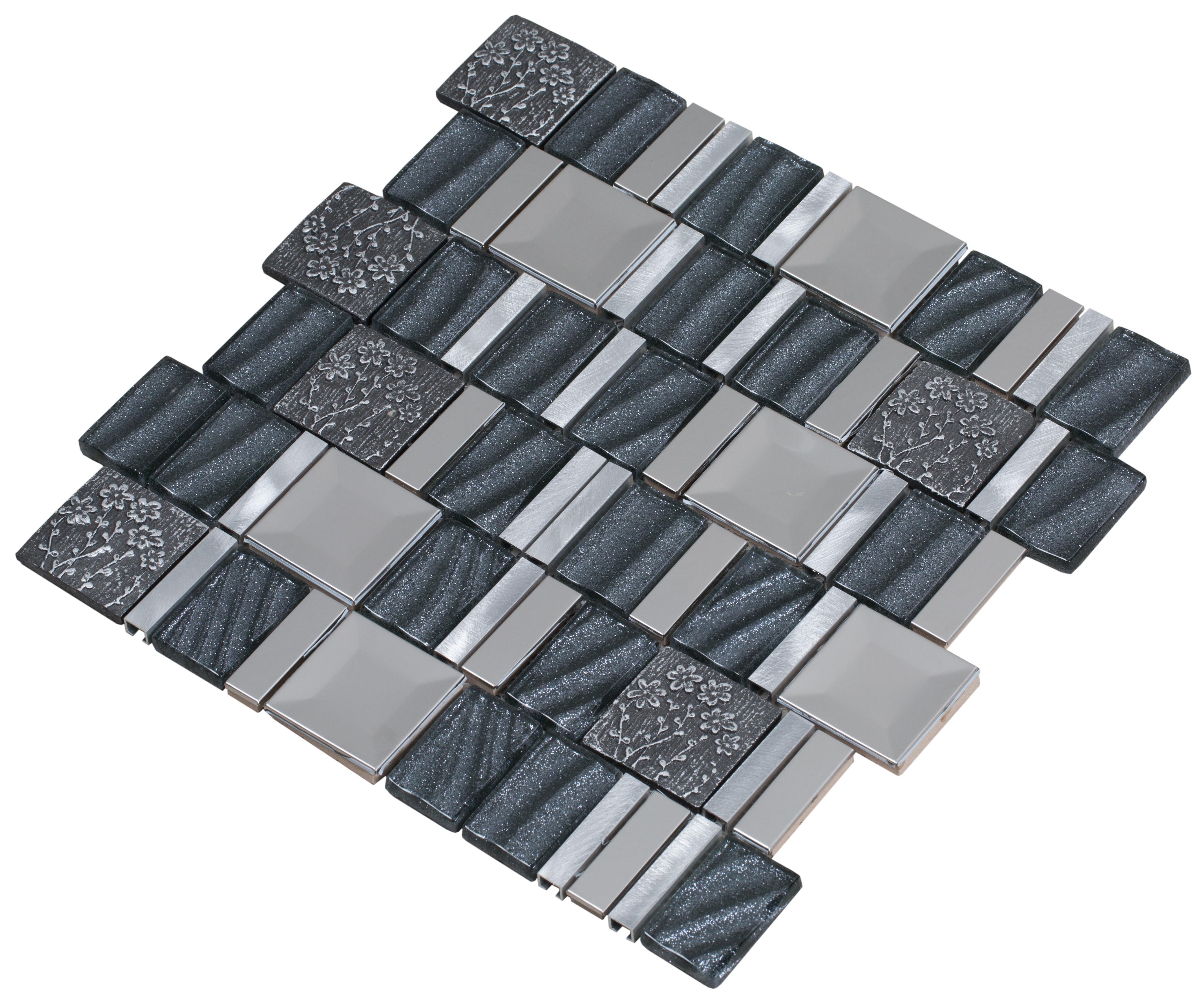 Stainless steel, hand painted ceramics, aluminum, and gray sequined glass / Interlocking Vitray Series 0
