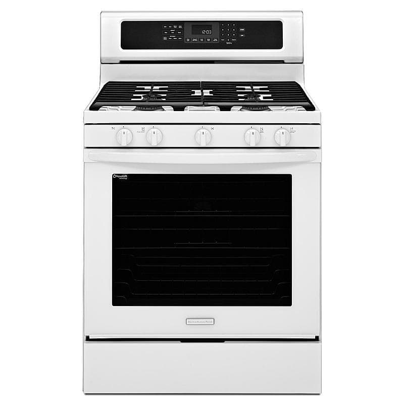 Kitchenaid kgrs202bwh 30 white gas range 5 8 cu ft gas for Kitchenaid f series