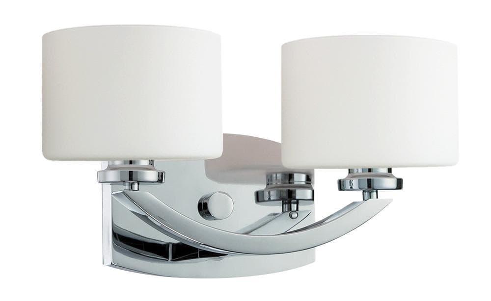 Two (2) / Chrome Langdon Mills Regent Contemporary Bathroom Vanity Light Fixture 0
