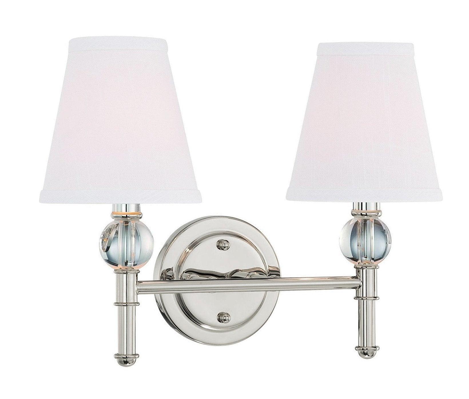 Two (2) Langdon Mills Savoy Polished Nickel Bathroom Vanity Light Fixture 0