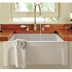 "ALFI brand AB2418ARCH W 24"" White Arched Apron Thick Wall Fireclay Farm Sink"