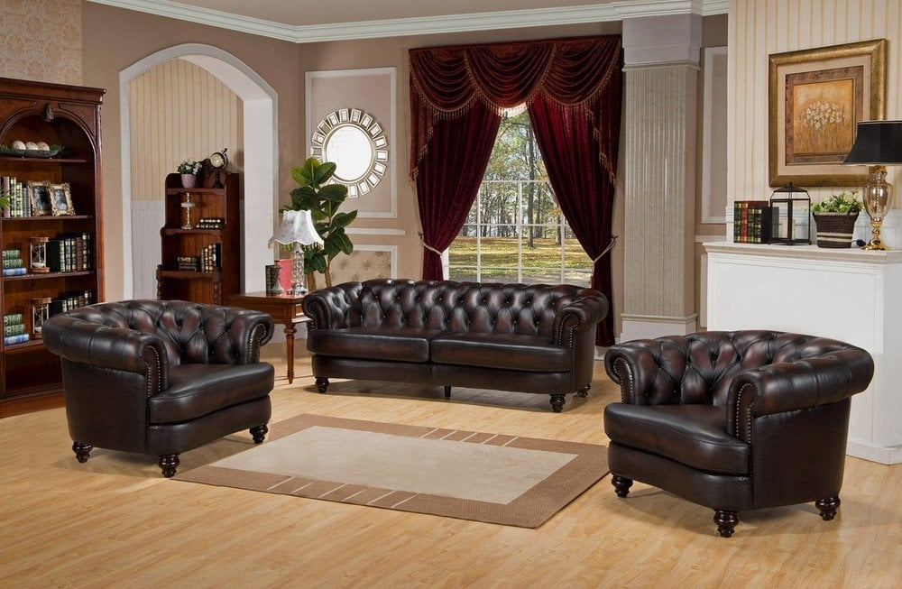 Amax leather quotmarioquot 100 leather 3 piece sofa set scc for Eurodesign brown leather 5 piece sectional sofa set
