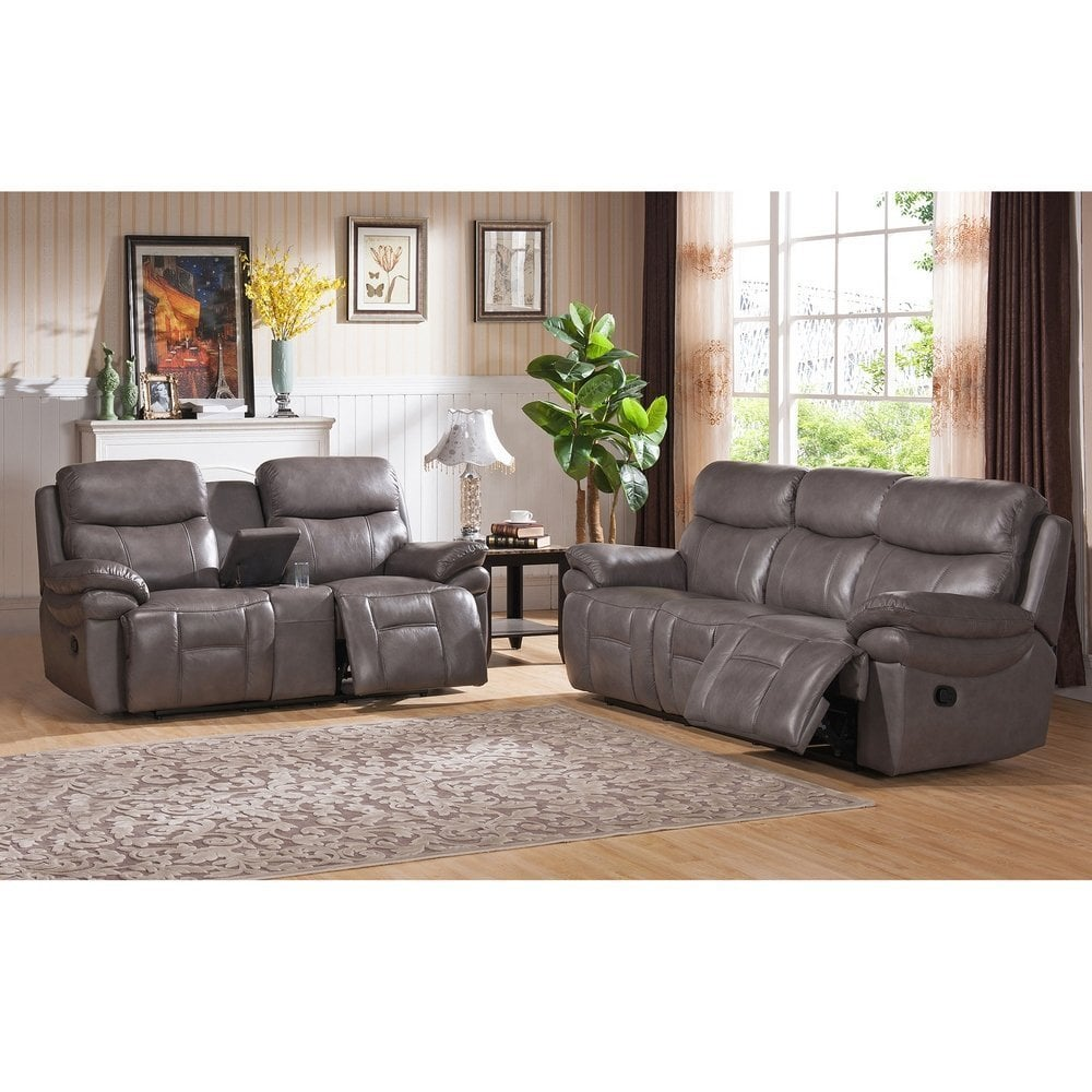 """Sectional Gray Sofa Set: Amax Leather """"Summerlands I""""Leather Reclining Sofa And"""