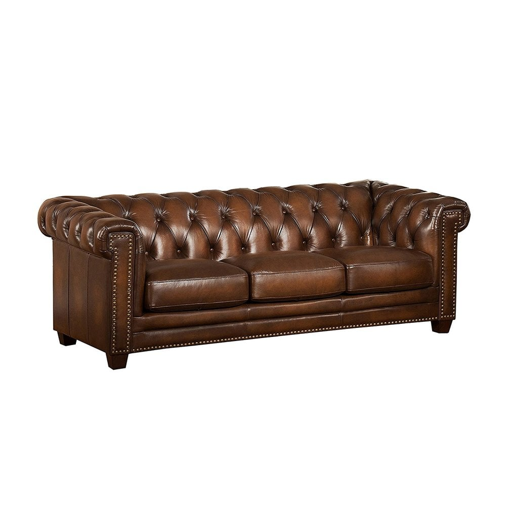 """Stanley Leather Sofa Bangalore: Amax Leather """"Stanley Park II"""" 100% Leather Sofa, Brown"""
