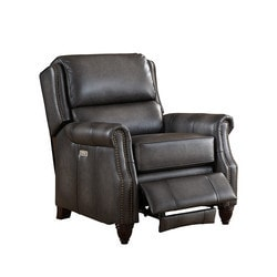 Amax Leather Nelson 100% Leather Power Recliner, Grey