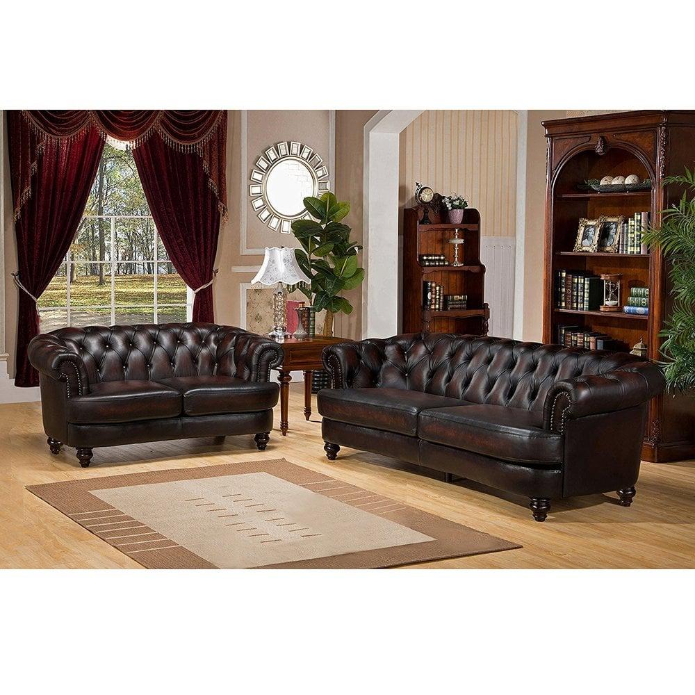 """Amax Leather """"Mario"""" 100% Leather Sofa Set, Sofa And"""