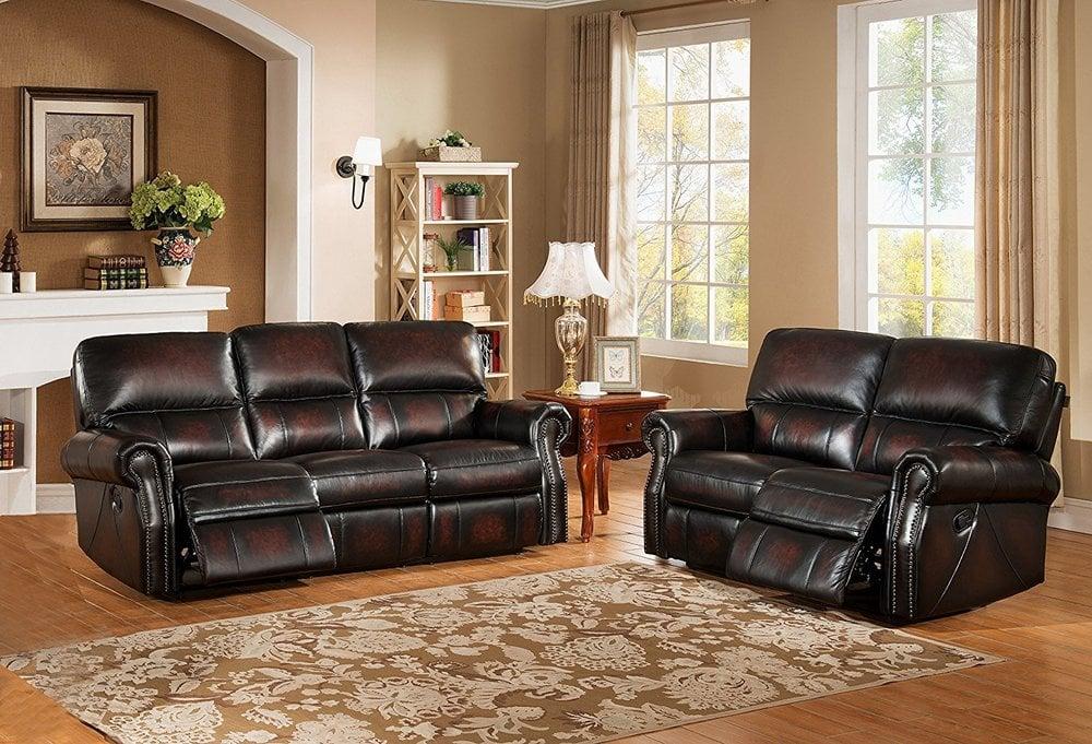 Amax Leather Brooklyn Leather Sofa Set Reclining Sofa