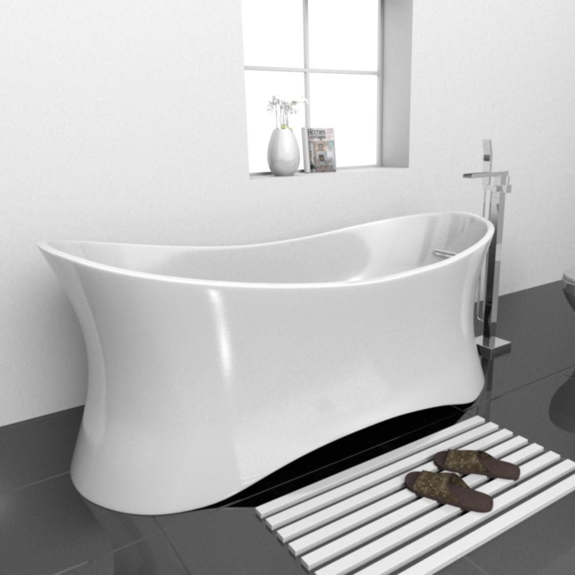 Freestanding Bathtub / 68 x 32 x 30 / High gloss Acrylic / Oval / PALLA Freestanding Bathtub PALLA Freestanding Bathtub 0