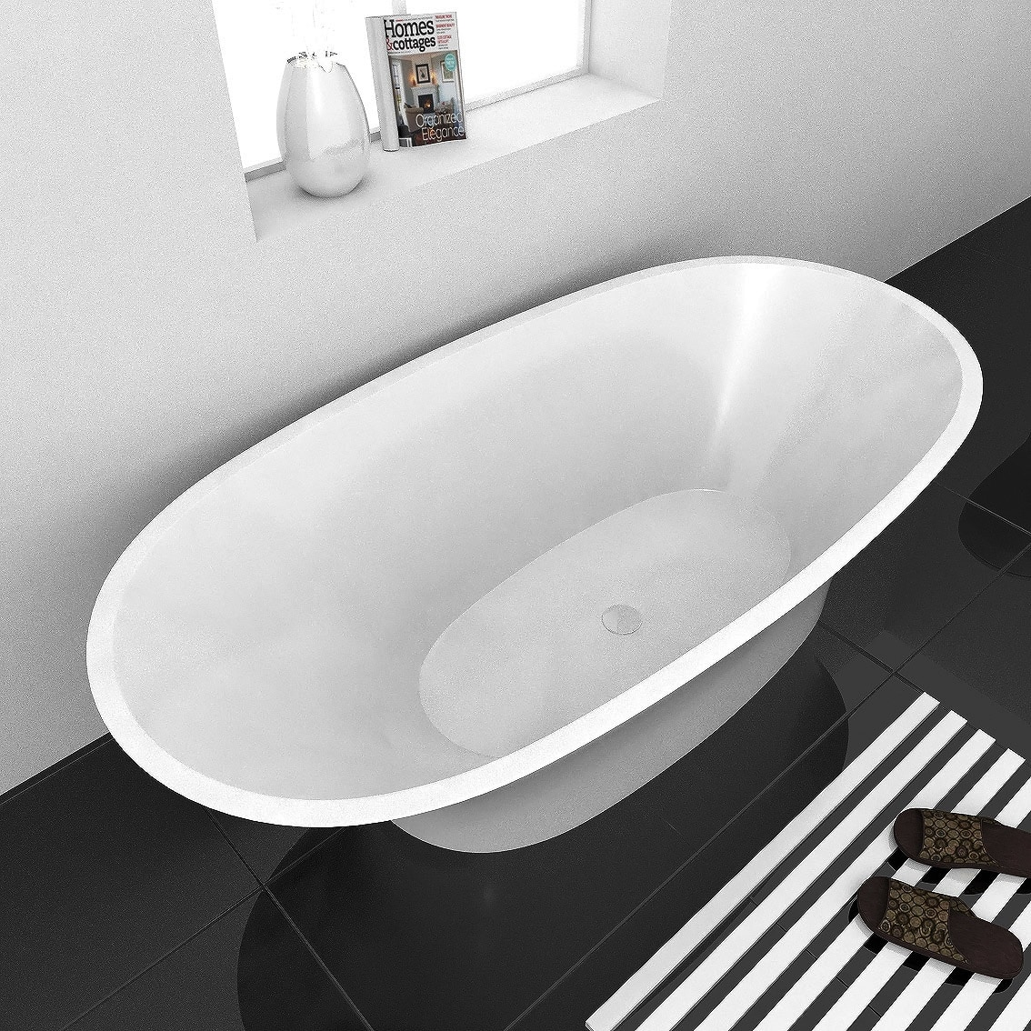 Freestanding Bathtub / 71 x 33 x 24 / High gloss Acrylic / Oval / AURAS Freestanding Bathtub AURAS Freestanding Bathtub 0