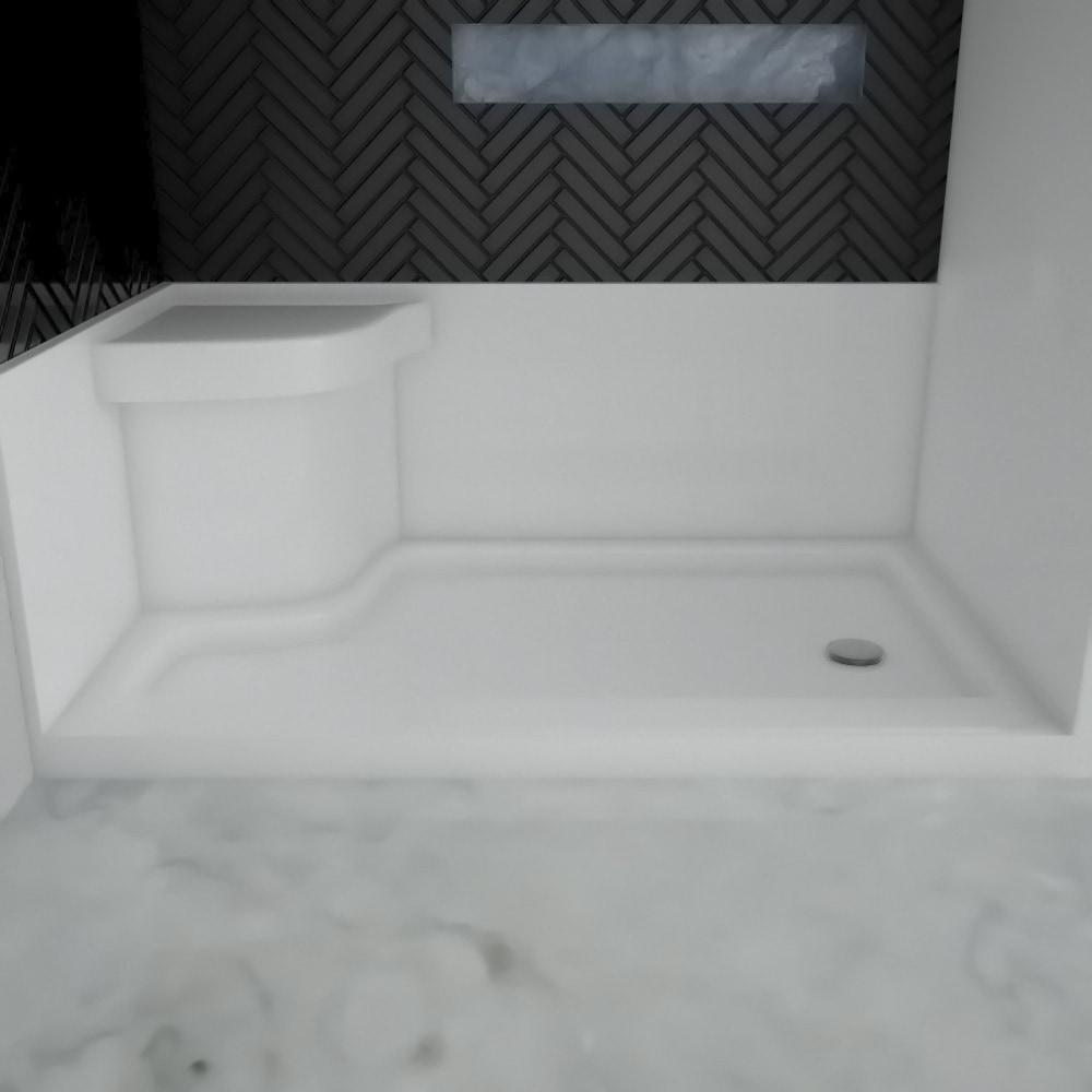 Eurolux Acrylic offset shower base with molded seat 6048 Acrylic ...