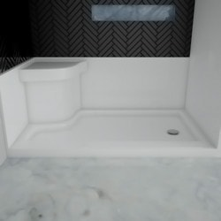 Eurolux Acrylic Offset Shower Base With Molded Seat 4830
