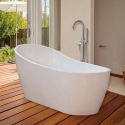 Woodbridge Modern Bathroom Glossy Acrylic 67u201d Freestanding Bathtub   Freest  .