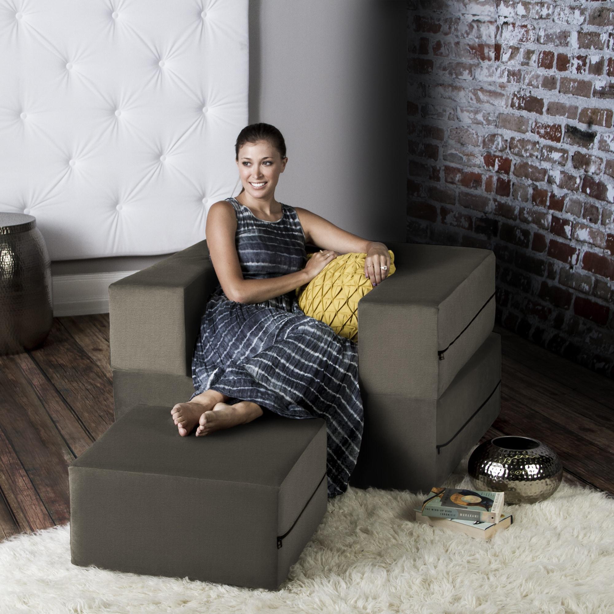 Mocha / 16385 Jaxx Zipline Convertible Sleeper Futon Chair & Ottoman (Twin Bed) 0