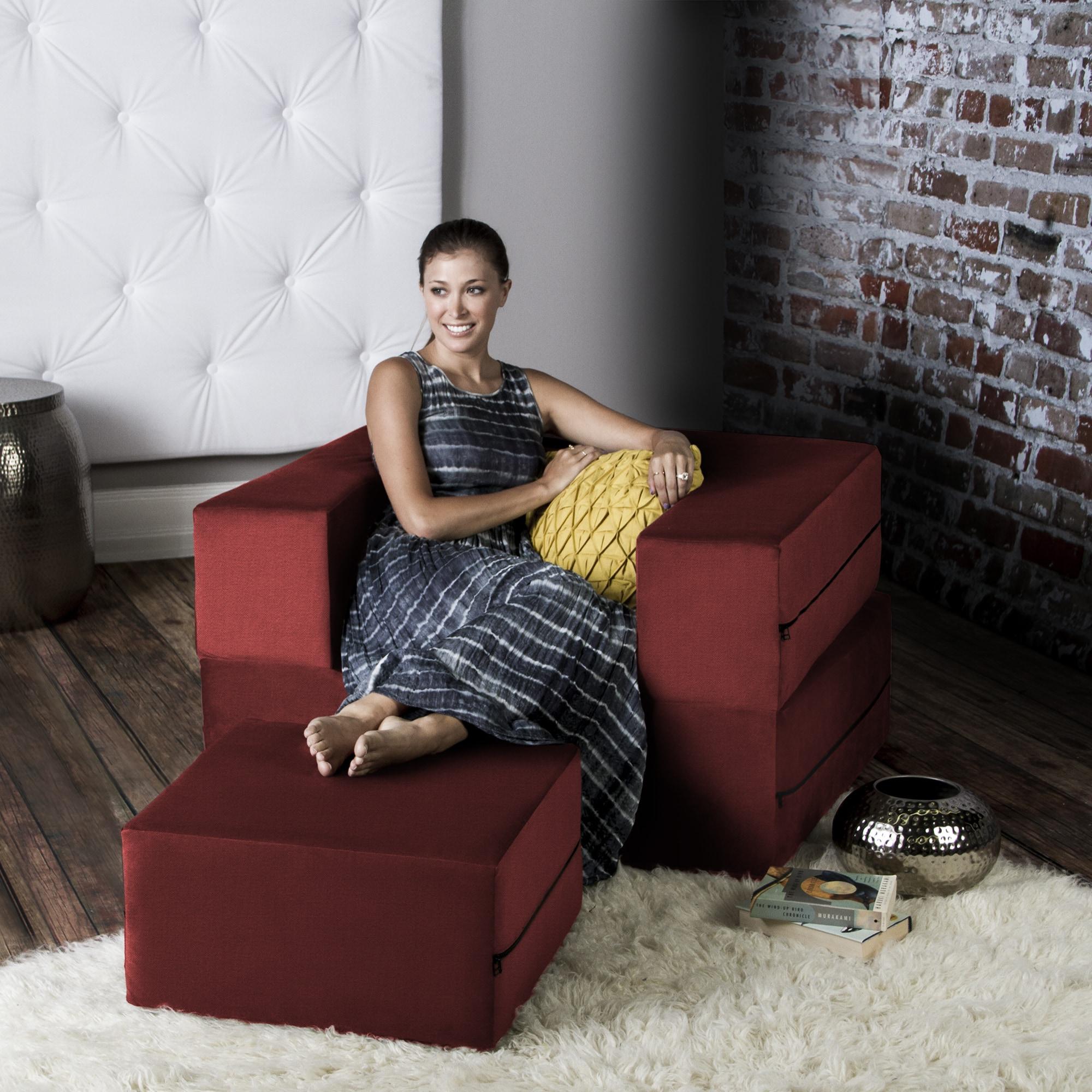 Tomato / 16385 Jaxx Zipline Convertible Sleeper Futon Chair & Ottoman (Twin Bed) 0