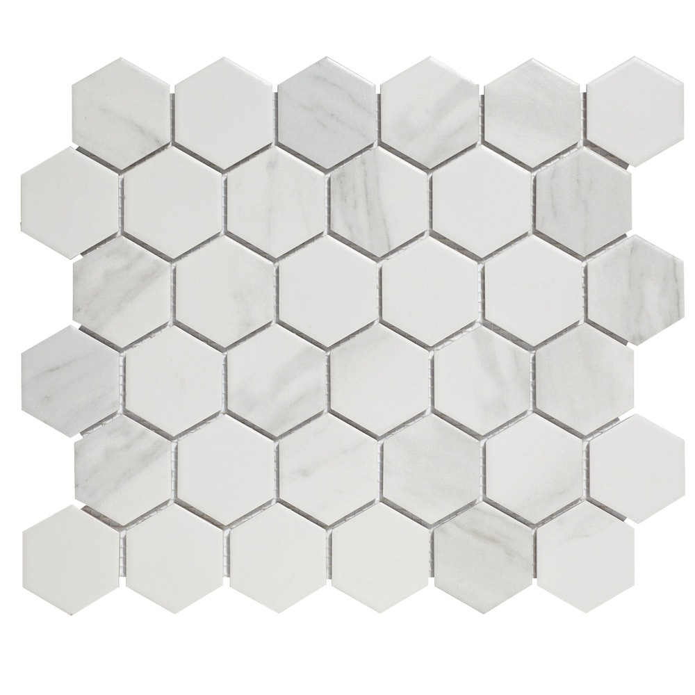 The Mosaic Factory Glazed Mosaic Barcelona X Hexagon Carrara - 2 carrara marble hexagon floors