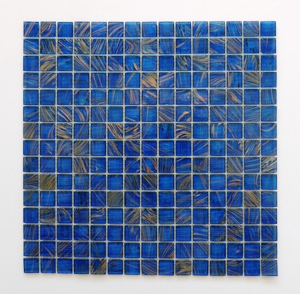 The Mosaic Factory Glass Mosaic Tile Sheet Amsterdam Ocean Blue Gold ...