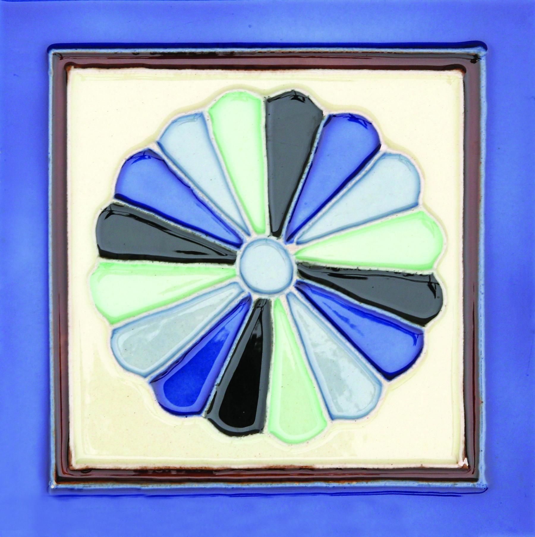 Glazed Hand-Painted Ceramic Glazed Wall Tile in Abanico 0