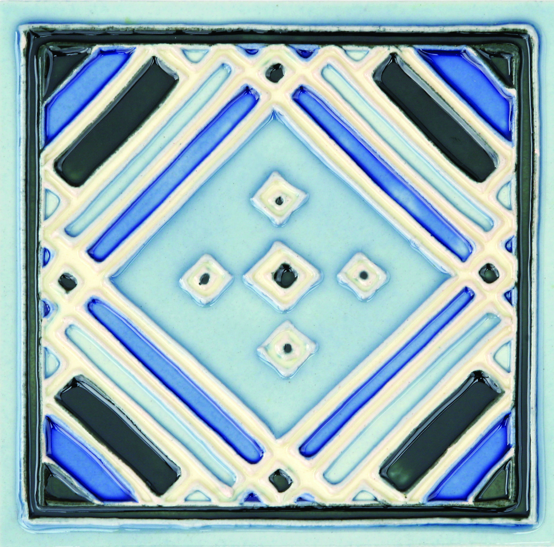 Blue Hand-Painted Ceramic Glazed Wall Tile in Aztec 0