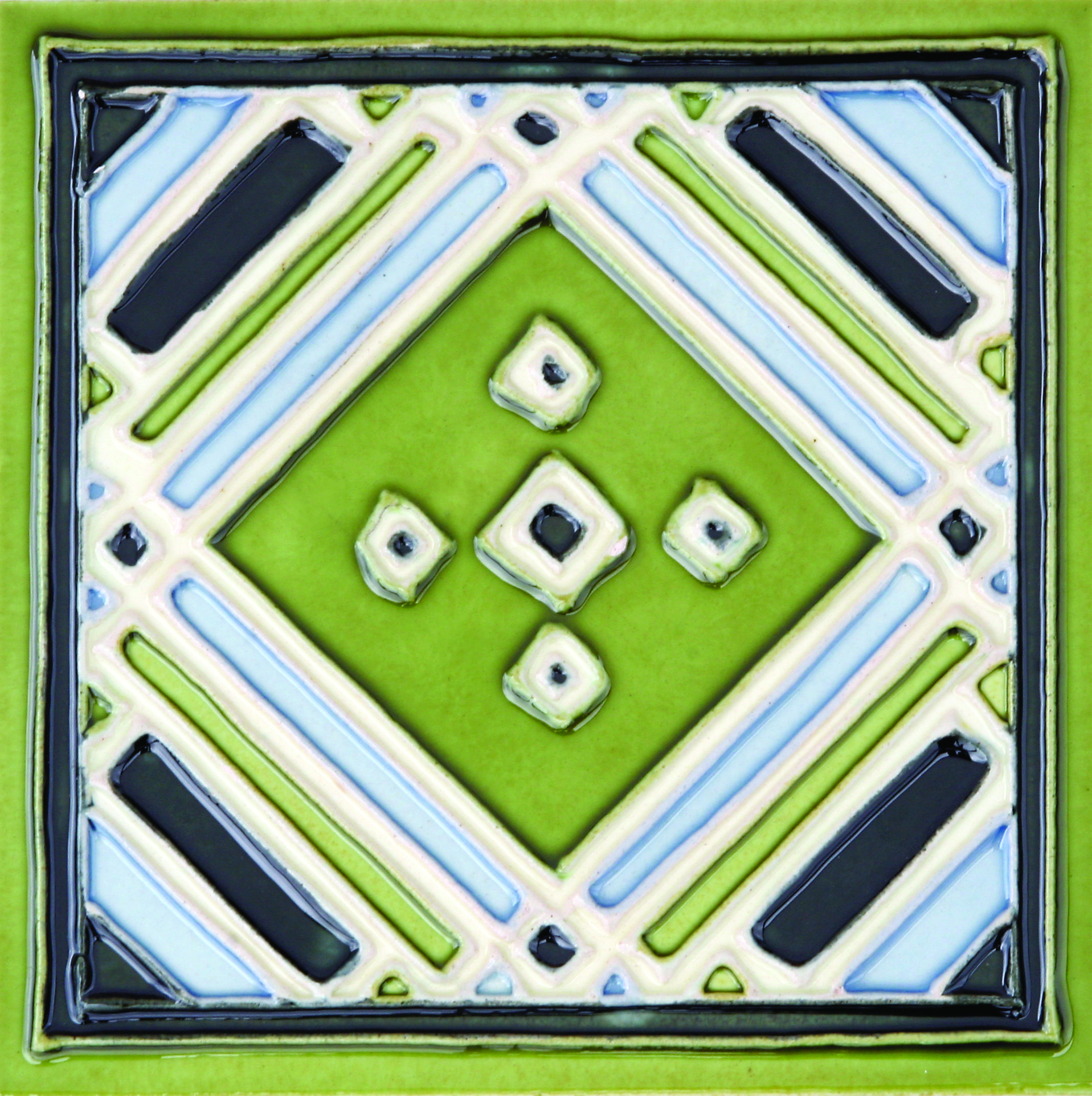Green Hand-Painted Ceramic Glazed Wall Tile in Aztec 0