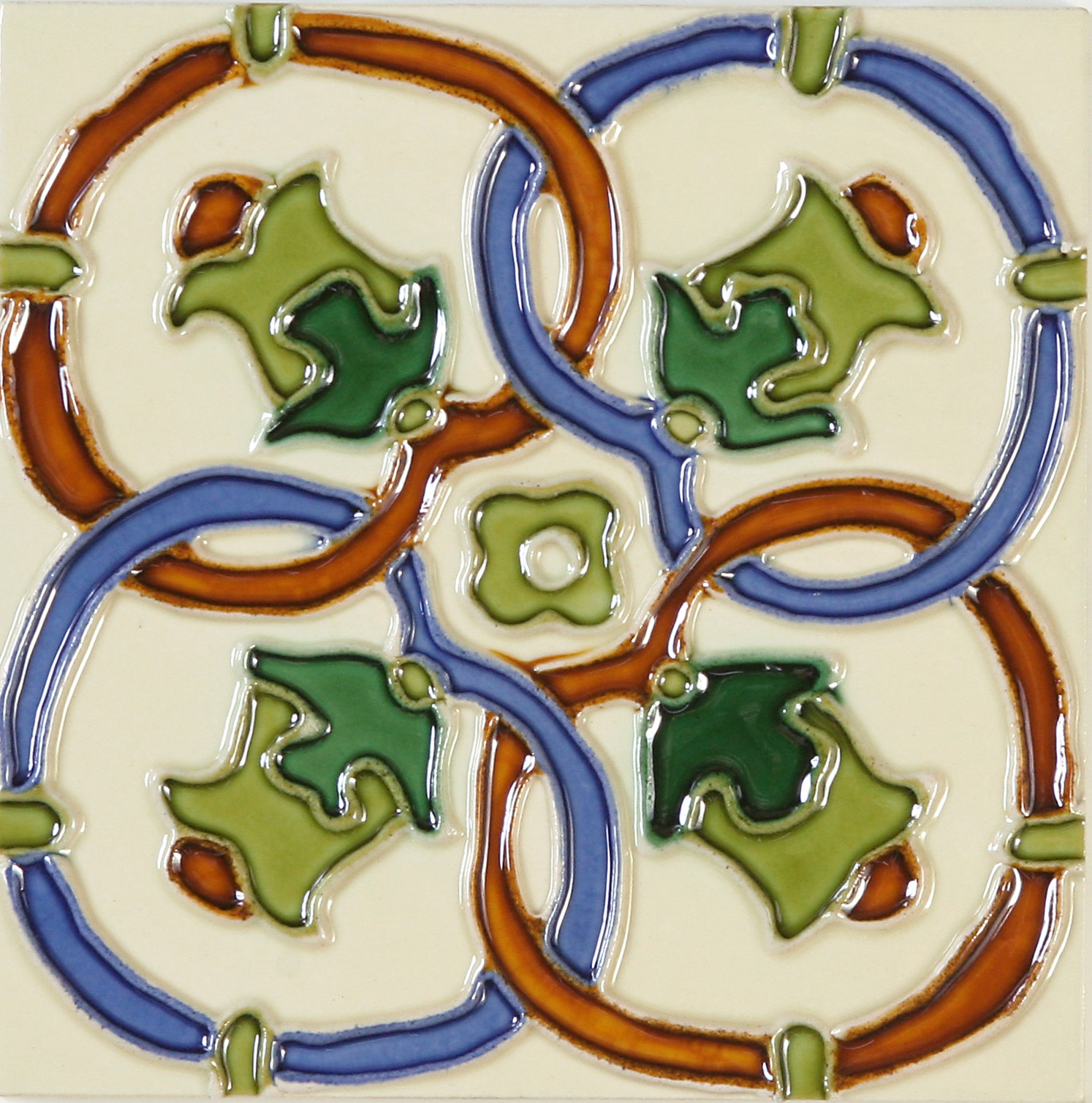 Hand-Painted Ceramic Glazed Wall Tile in Campanas Hand-Painted Ceramic Glazed Wall Tile in Campanas 0