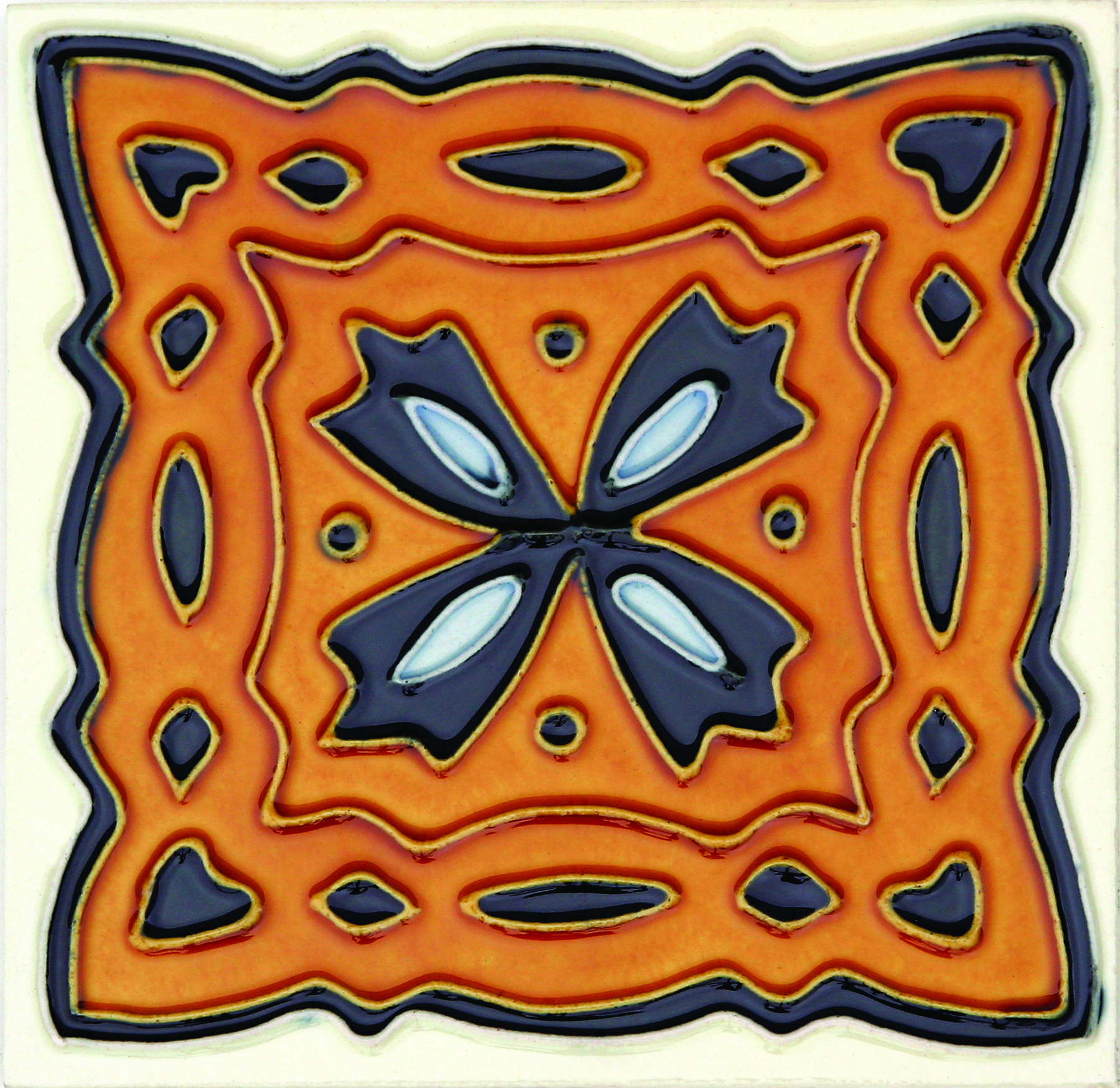 Hand-Painted Ceramic Glazed Wall Tile in Celtic Hand-Painted Ceramic Glazed Wall Tile in Celtic 0