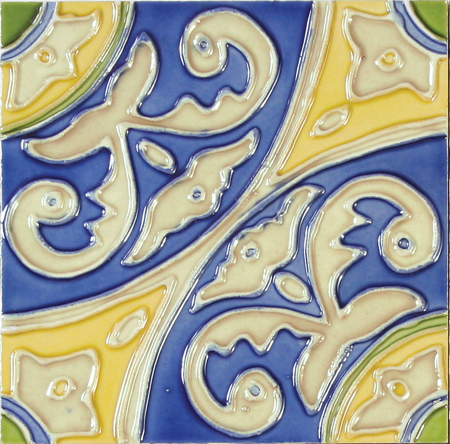 Hand-Painted Ceramic Glazed Wall Tile in Circulo Hand-Painted Ceramic Glazed Wall Tile in Circulo 0