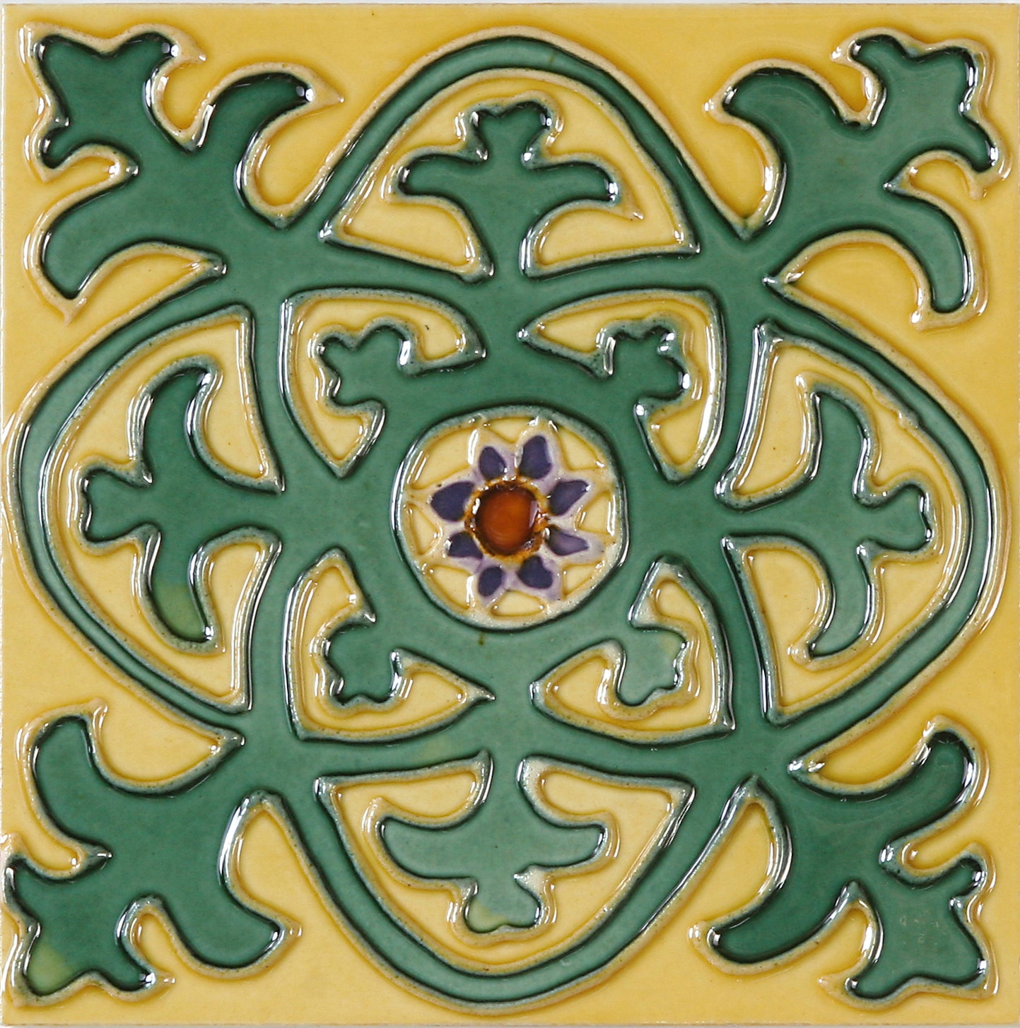 Hand-Painted Ceramic Glazed Wall Tile in Cosmo Hand-Painted Ceramic Glazed Wall Tile in Cosmo 0