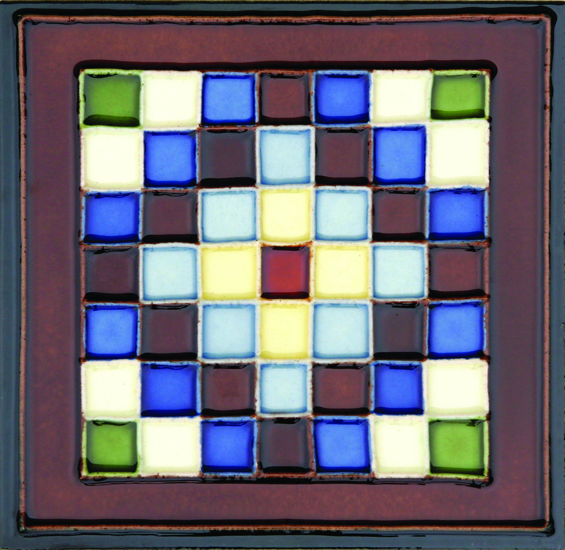 Hand-Painted Ceramic Glazed Wall Tile in Cuadros Hand-Painted Ceramic Glazed Wall Tile in Cuadros 0