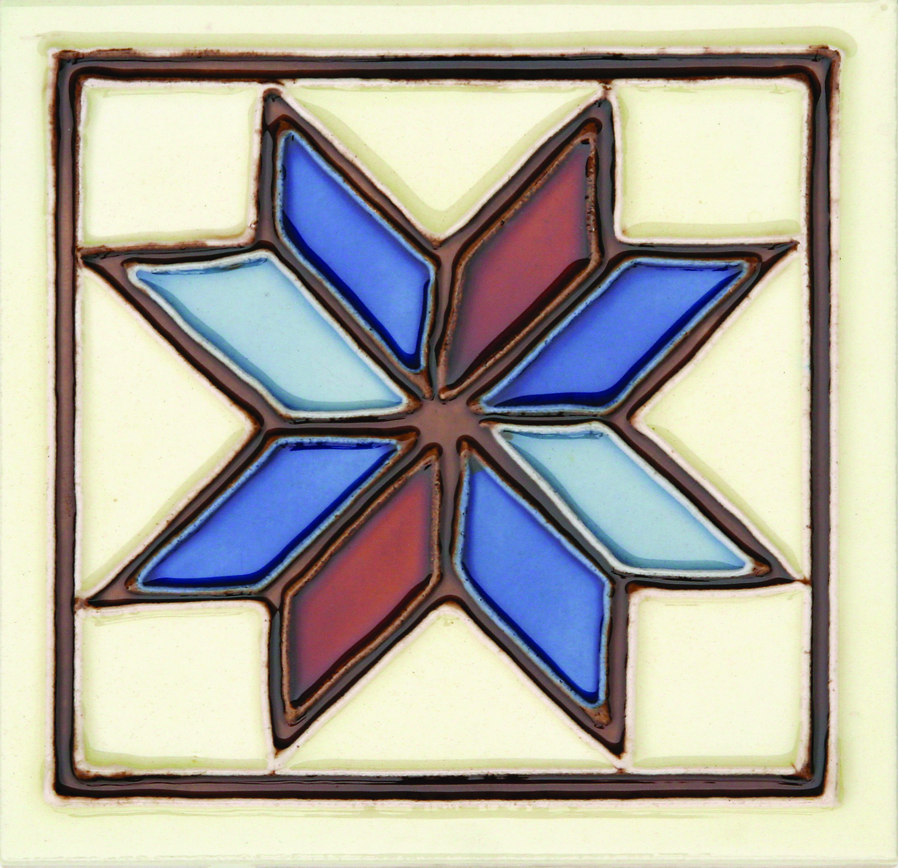 Hand-Painted Ceramic Glazed Wall Tile in Estrella Hand-Painted Ceramic Glazed Wall Tile in Estrella 0