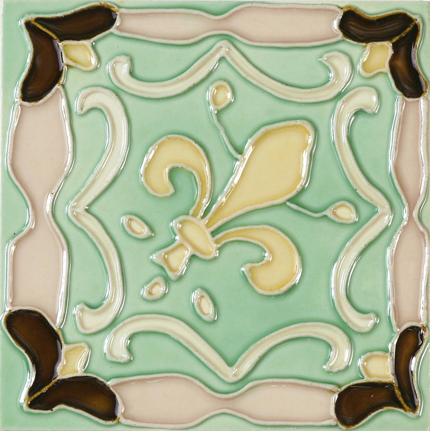Hand-Painted Ceramic Glazed Wall Tile in Fleur De Lis Hand-Painted Ceramic Glazed Wall Tile in Fleur De Lis 0