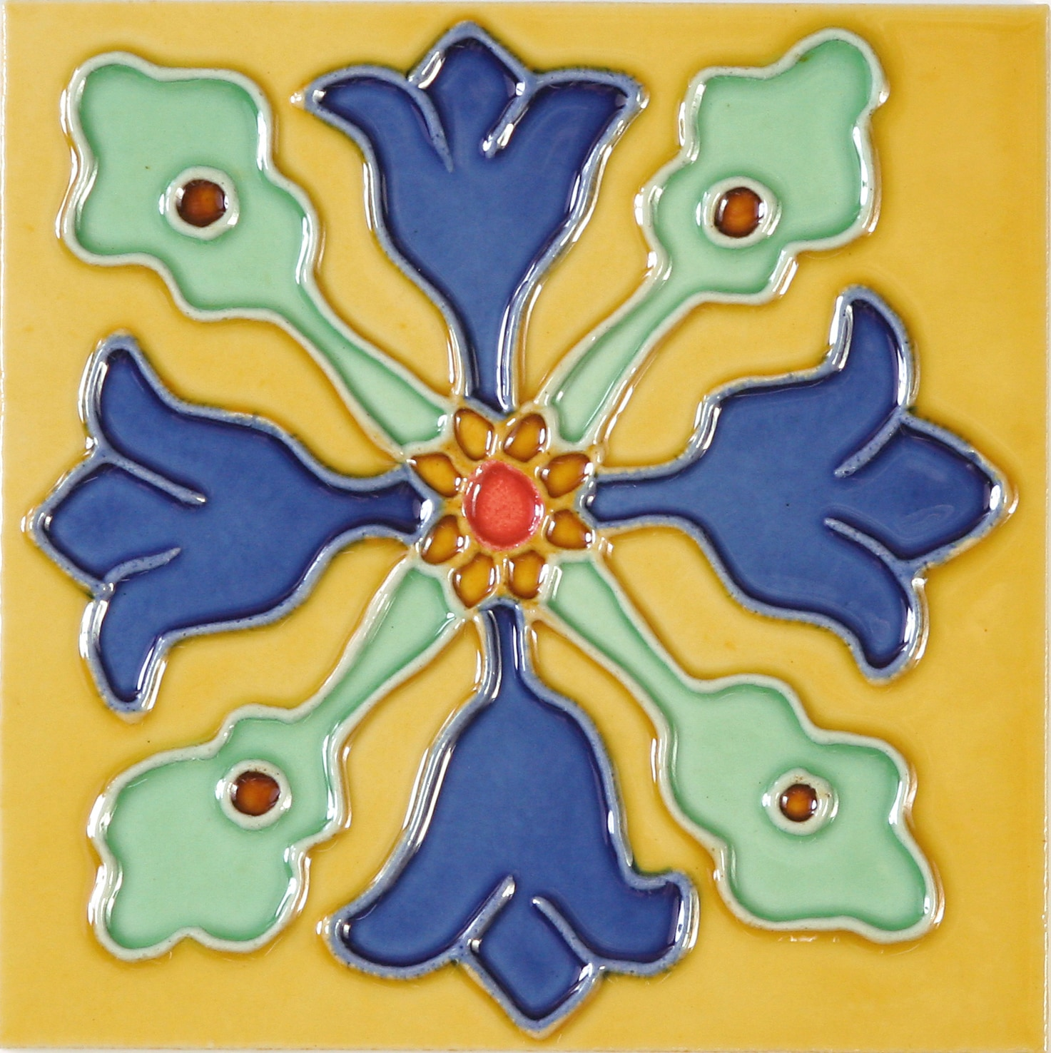 Hand-Painted Ceramic Glazed Wall Tile in Hermosa Hand-Painted Ceramic Glazed Wall Tile in Hermosa 0