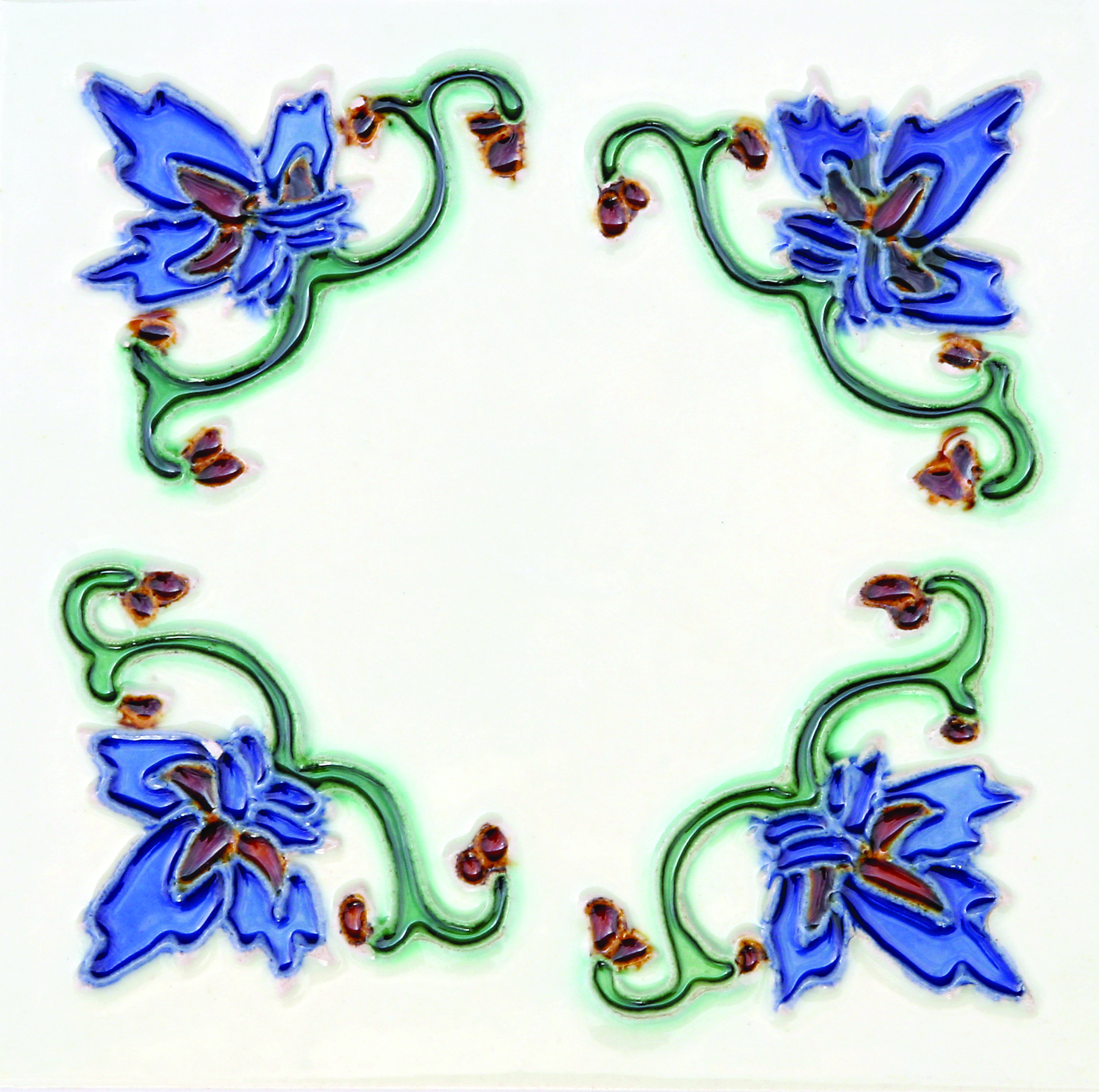 Hand-Painted Ceramic Glazed Wall Tile in Invierno Hand-Painted Ceramic Glazed Wall Tile in Invierno 0