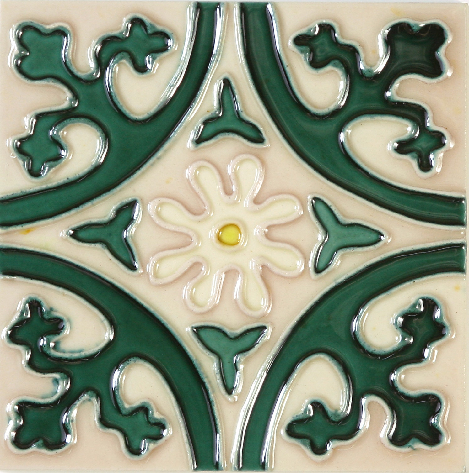 Hand-Painted Ceramic Glazed Wall Tile in Jardin Hand-Painted Ceramic Glazed Wall Tile in Jardin 0