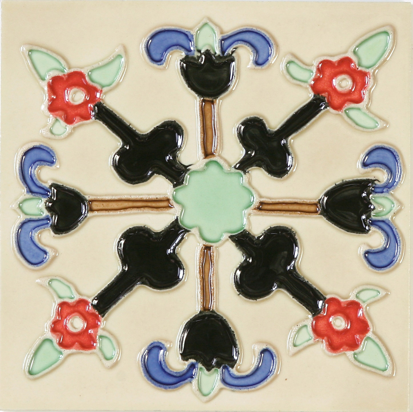 Hand-Painted Ceramic Glazed Wall Tile in Lanzas Hand-Painted Ceramic Glazed Wall Tile in Lanzas 0