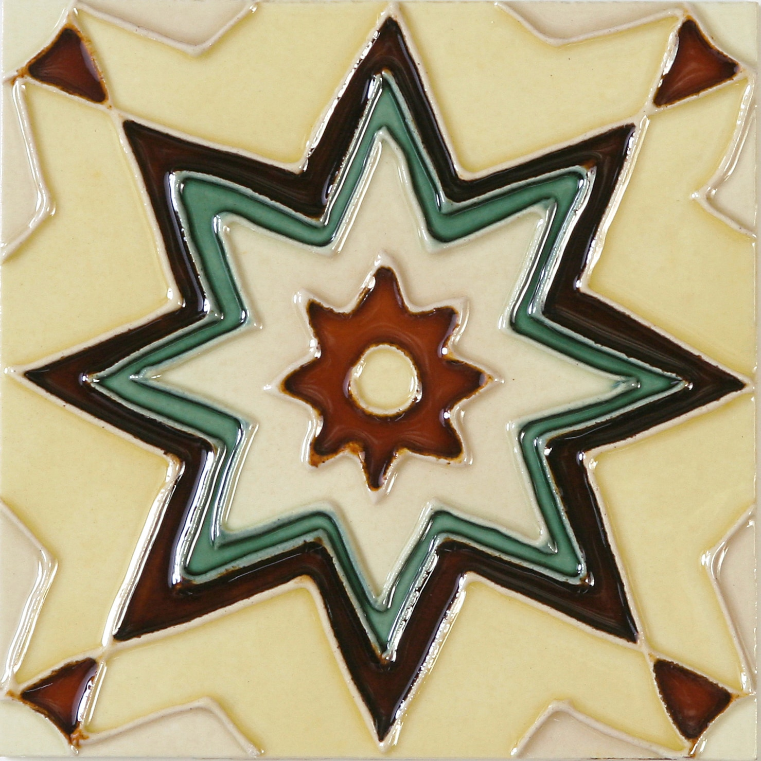 Hand-Painted Ceramic Glazed Wall Tile in Maresol Hand-Painted Ceramic Glazed Wall Tile in Maresol 0