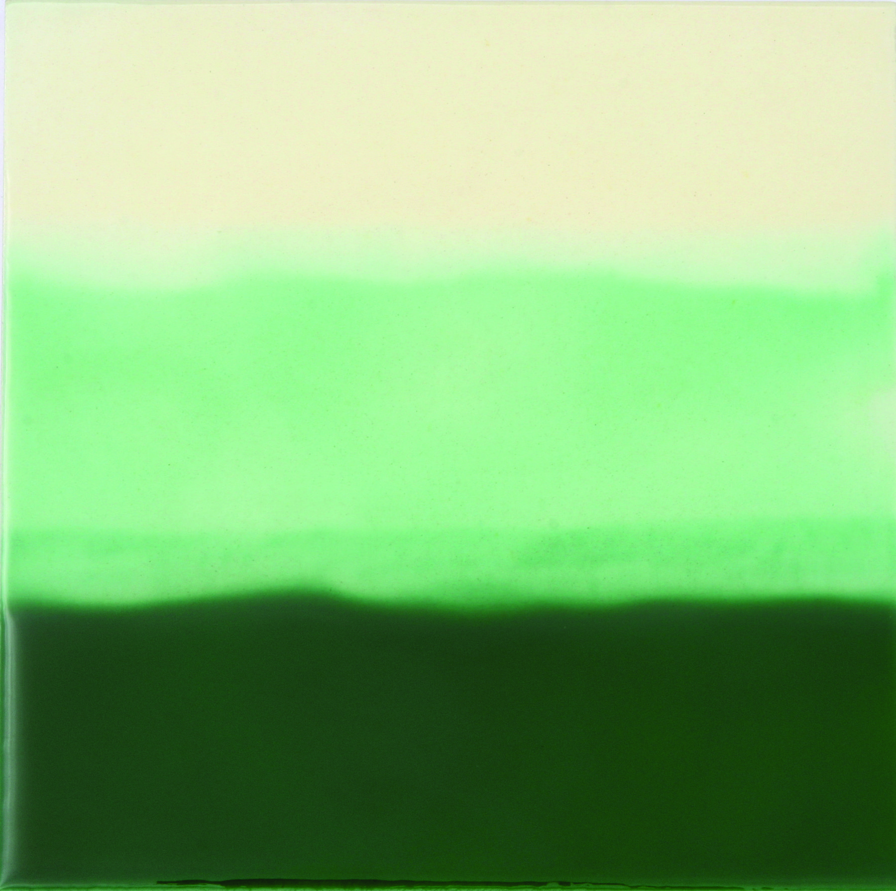 Green Hand-Painted Ceramic Glazed Wall Tile in Tri-Color 0