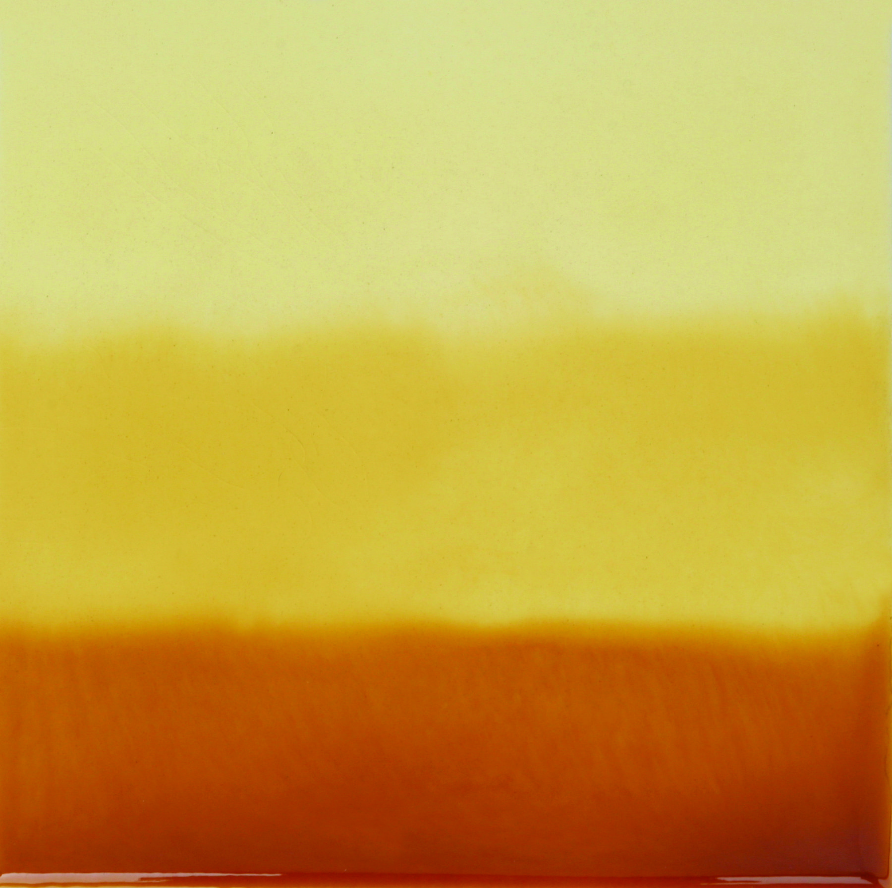 Yellow Hand-Painted Ceramic Glazed Wall Tile in Tri-Color 0
