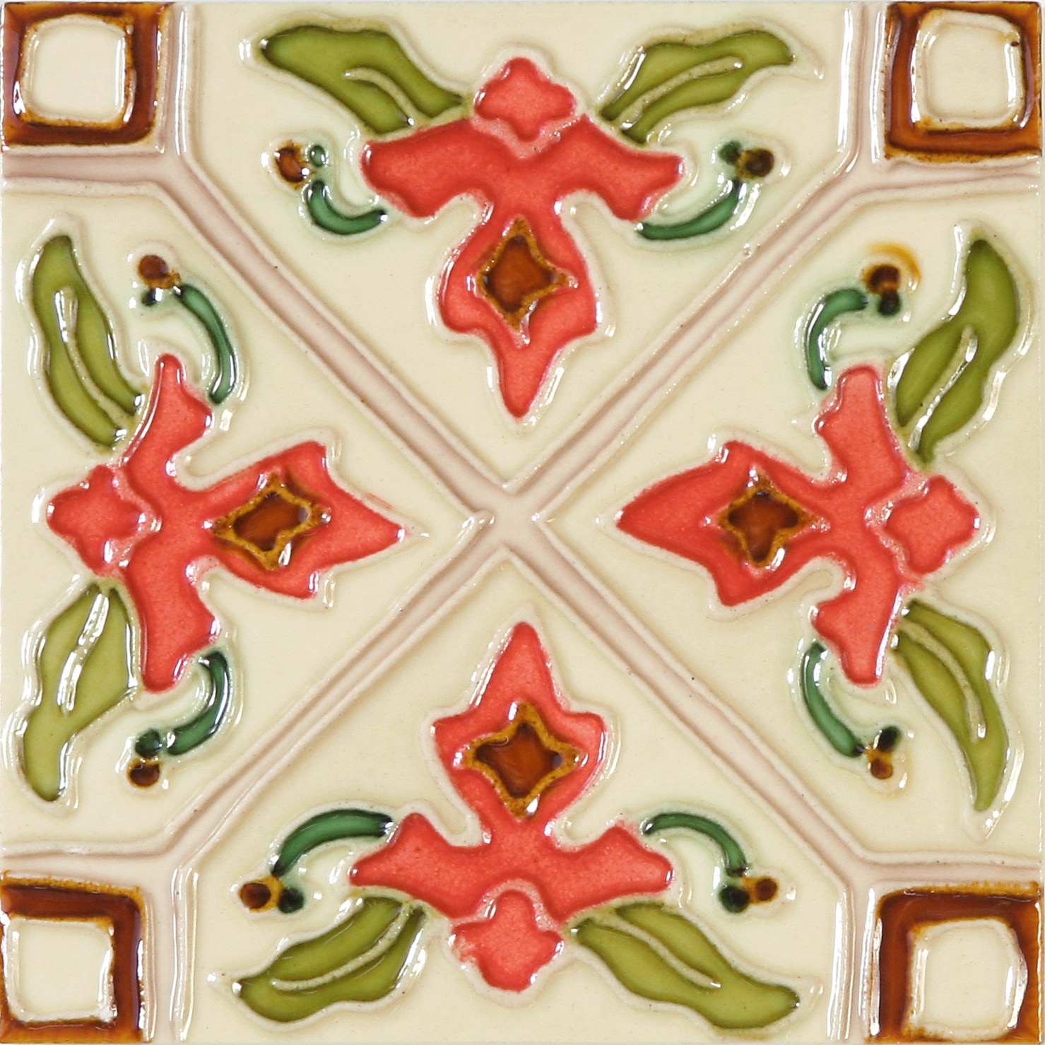 Hand-Painted Ceramic Glazed Wall Tile in Tulipan Hand-Painted Ceramic Glazed Wall Tile in Tulipan 0
