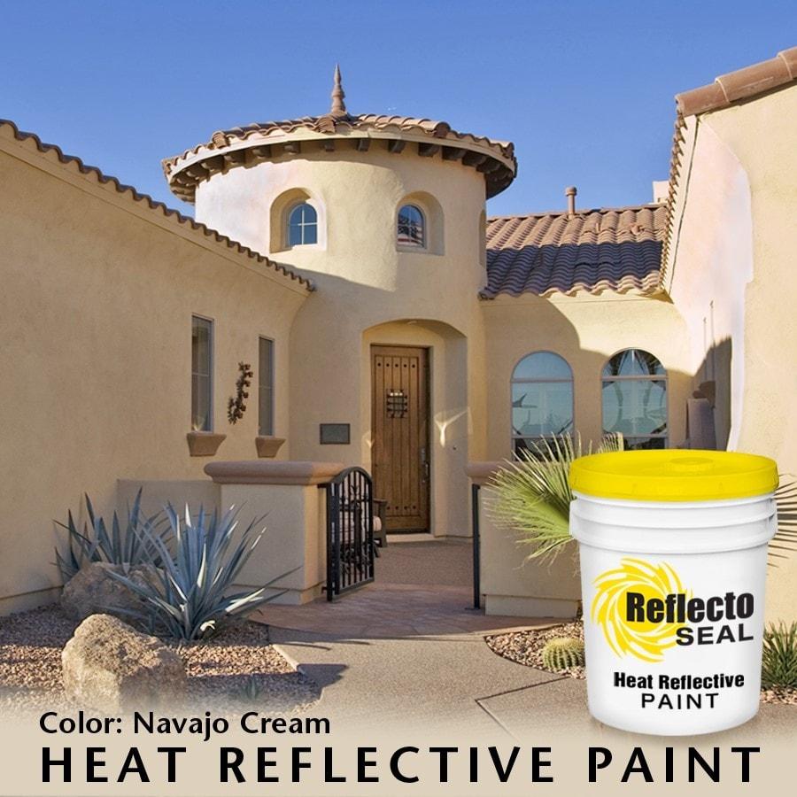 Reflecto Seal Heat Reflective Exterior Paint Acrylic Low Sheen 5 Gallon Navajo Cream