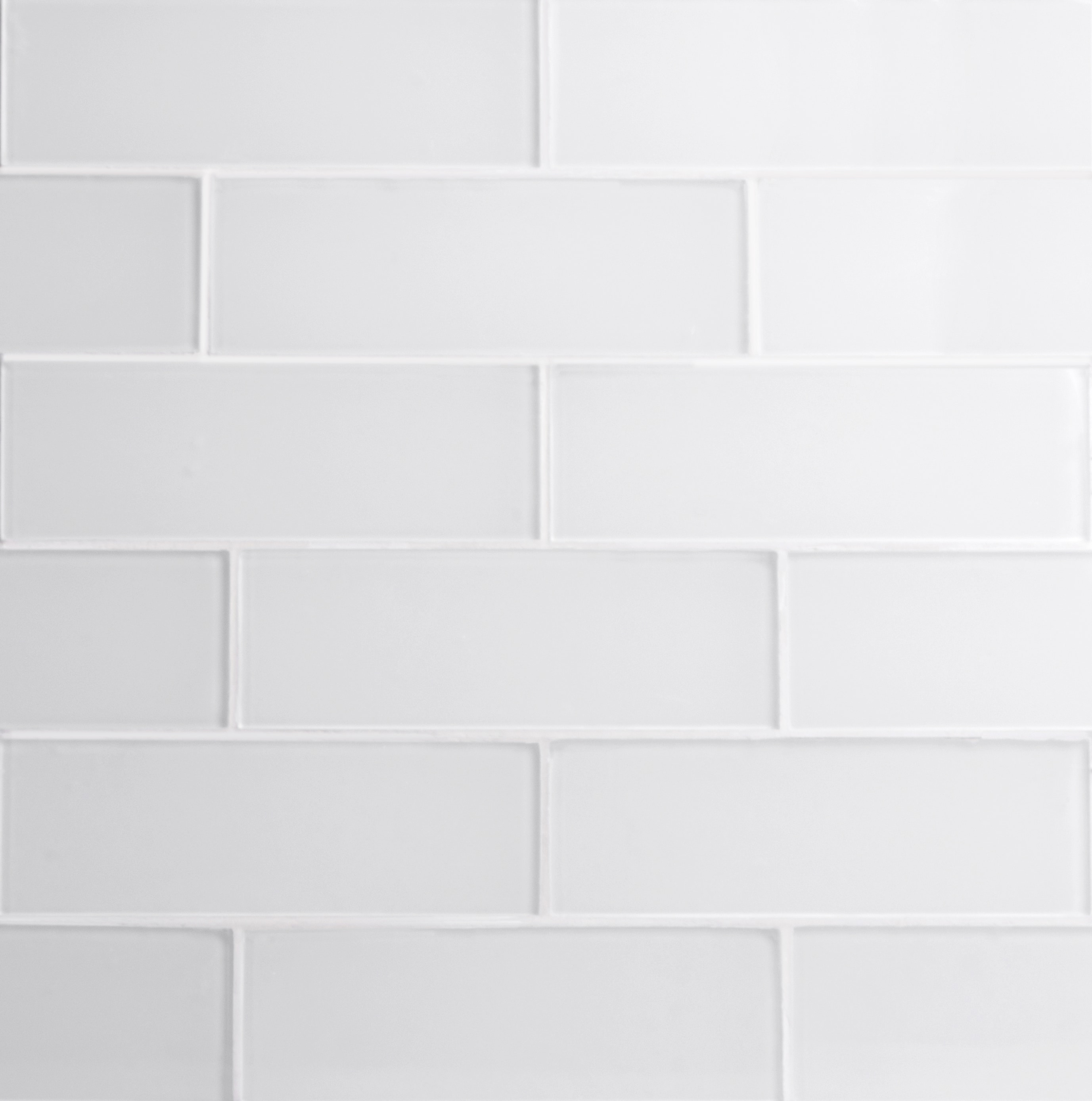 """Glass Subway Tile / 3 x 9 x 0.31 inches / Glossy Individual 3"""" x 9"""" Glass Subway Tile in White 0"""