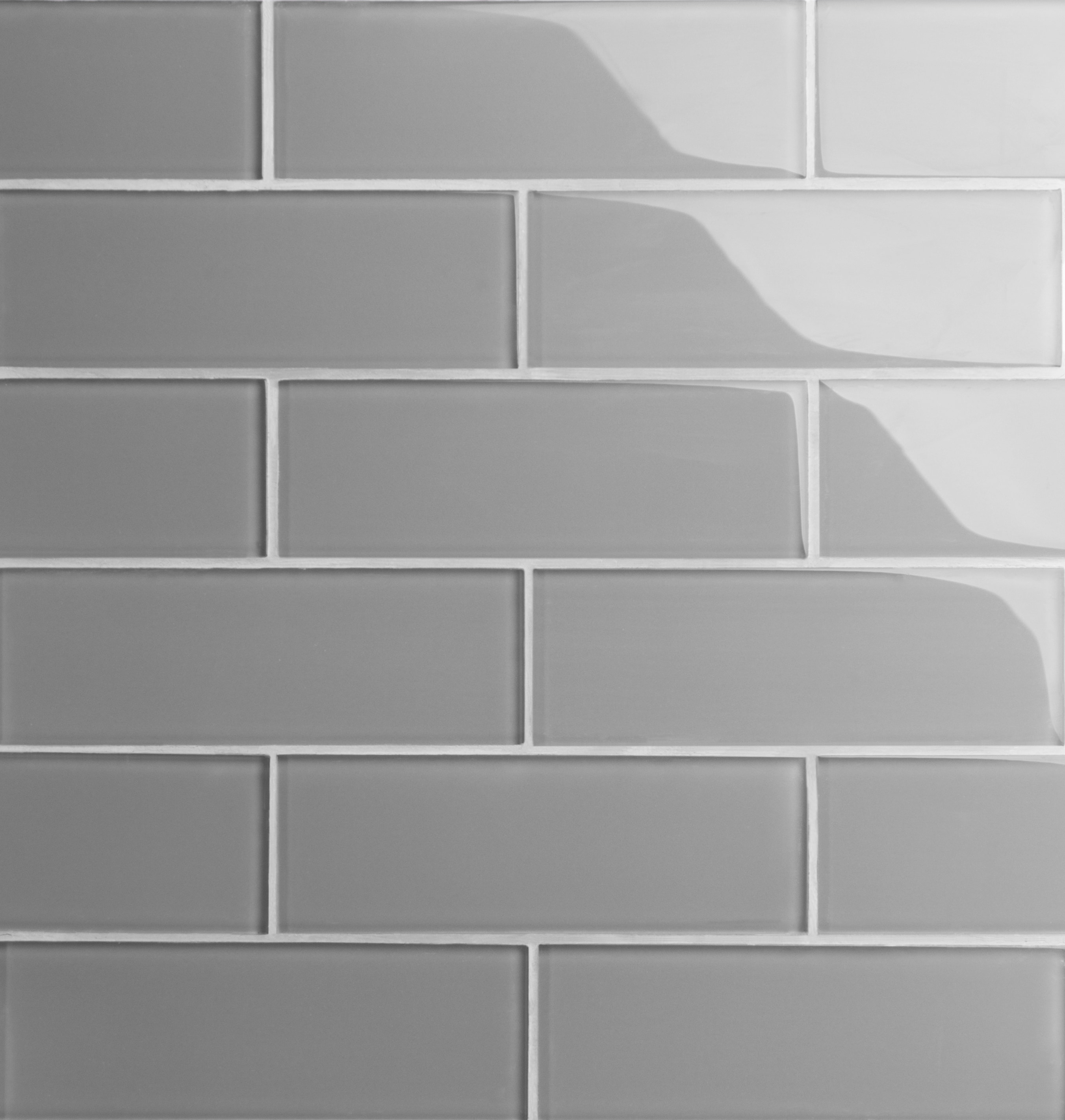 """Glass Subway Tile / 3 x 9 x 0.31 inches / Glossy Individual 3"""" x 9"""" Glass Subway Tile in Dark Gray 0"""
